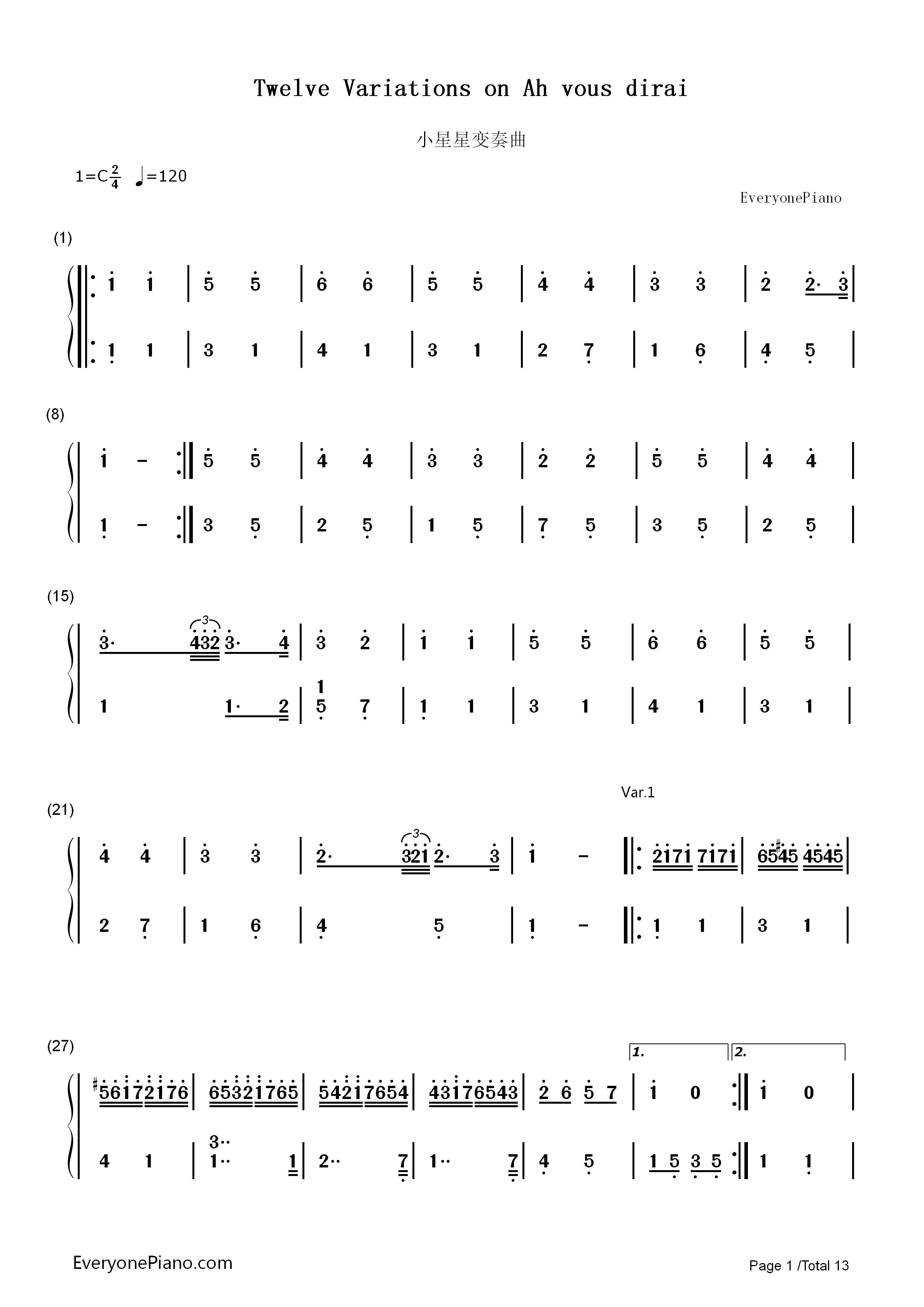 小星星变奏曲-莫扎特双手简谱预览1