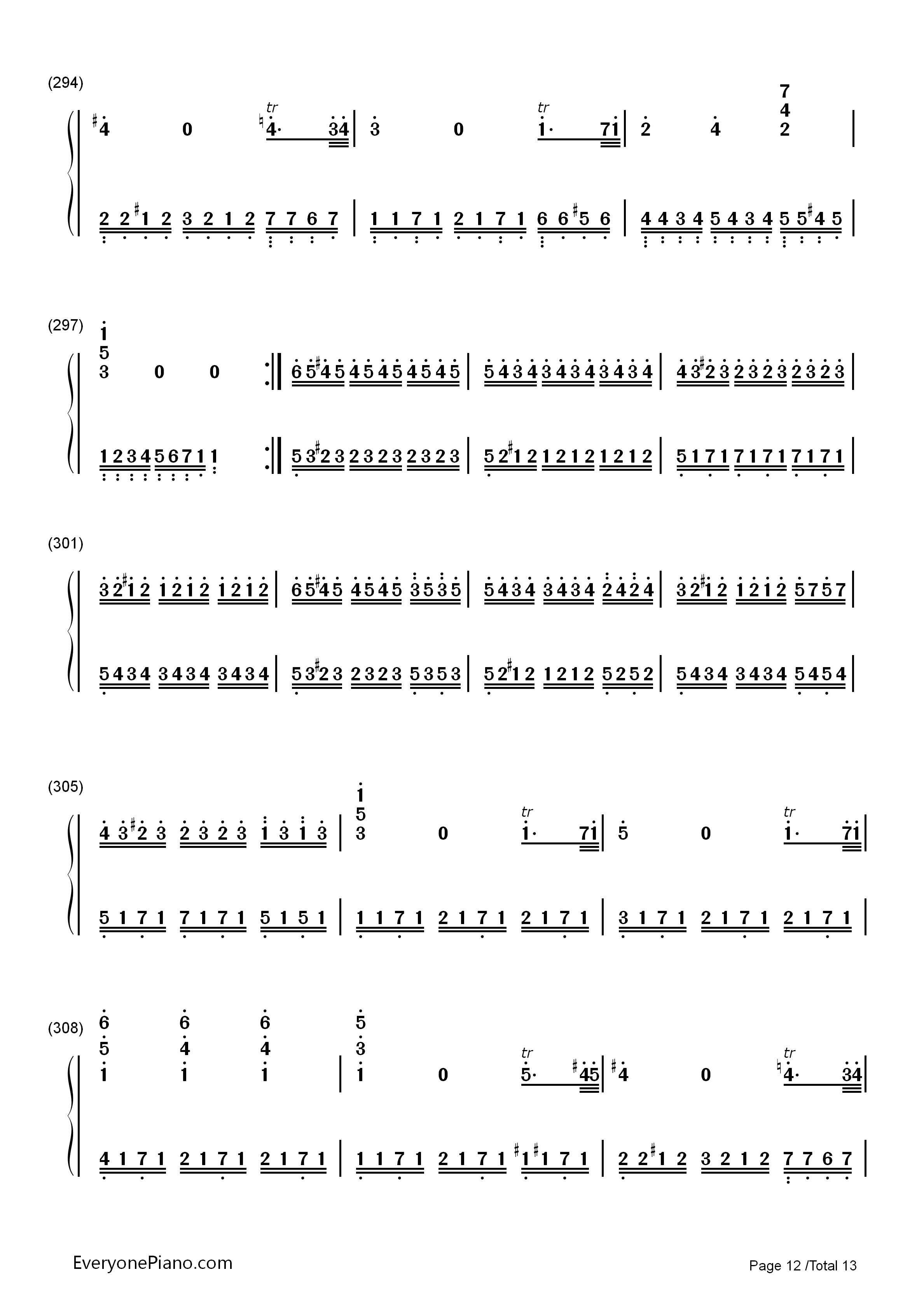 小星星变奏曲-莫扎特双手简谱预览12-钢琴谱(五线谱,)