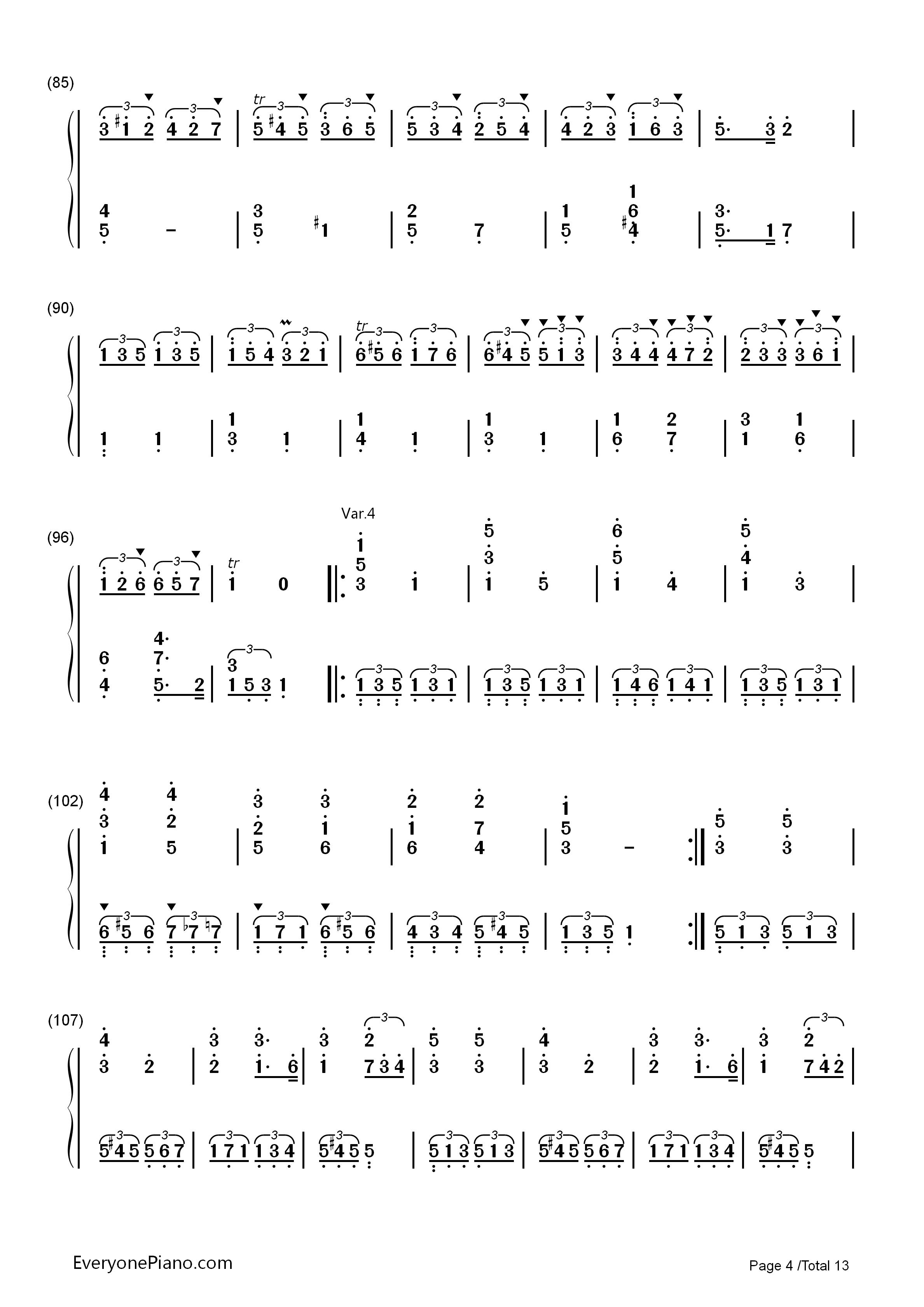 小星星变奏曲-莫扎特双手简谱预览4