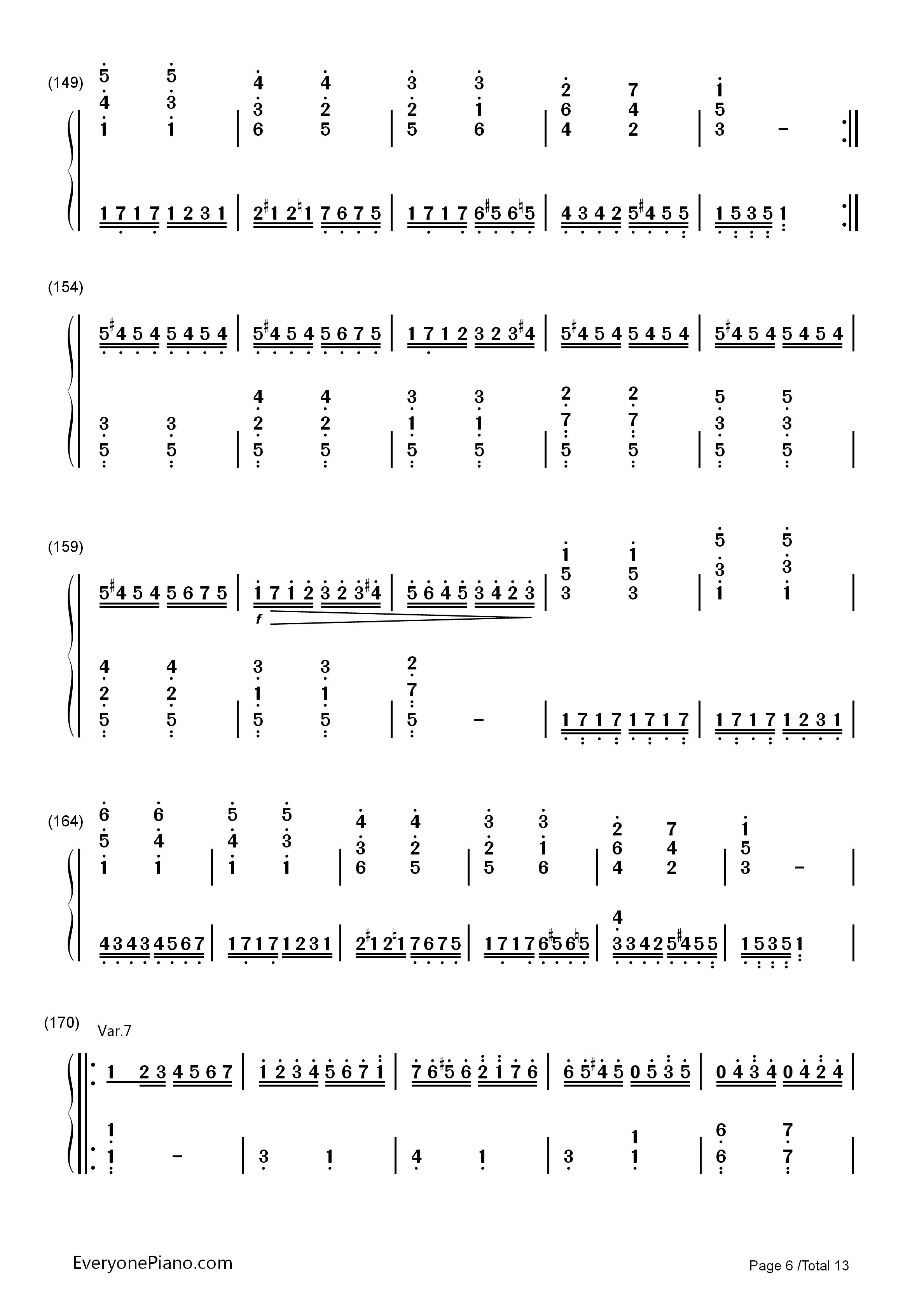 小星星变奏曲-莫扎特双手简谱预览6-钢琴谱(五线谱,)图片
