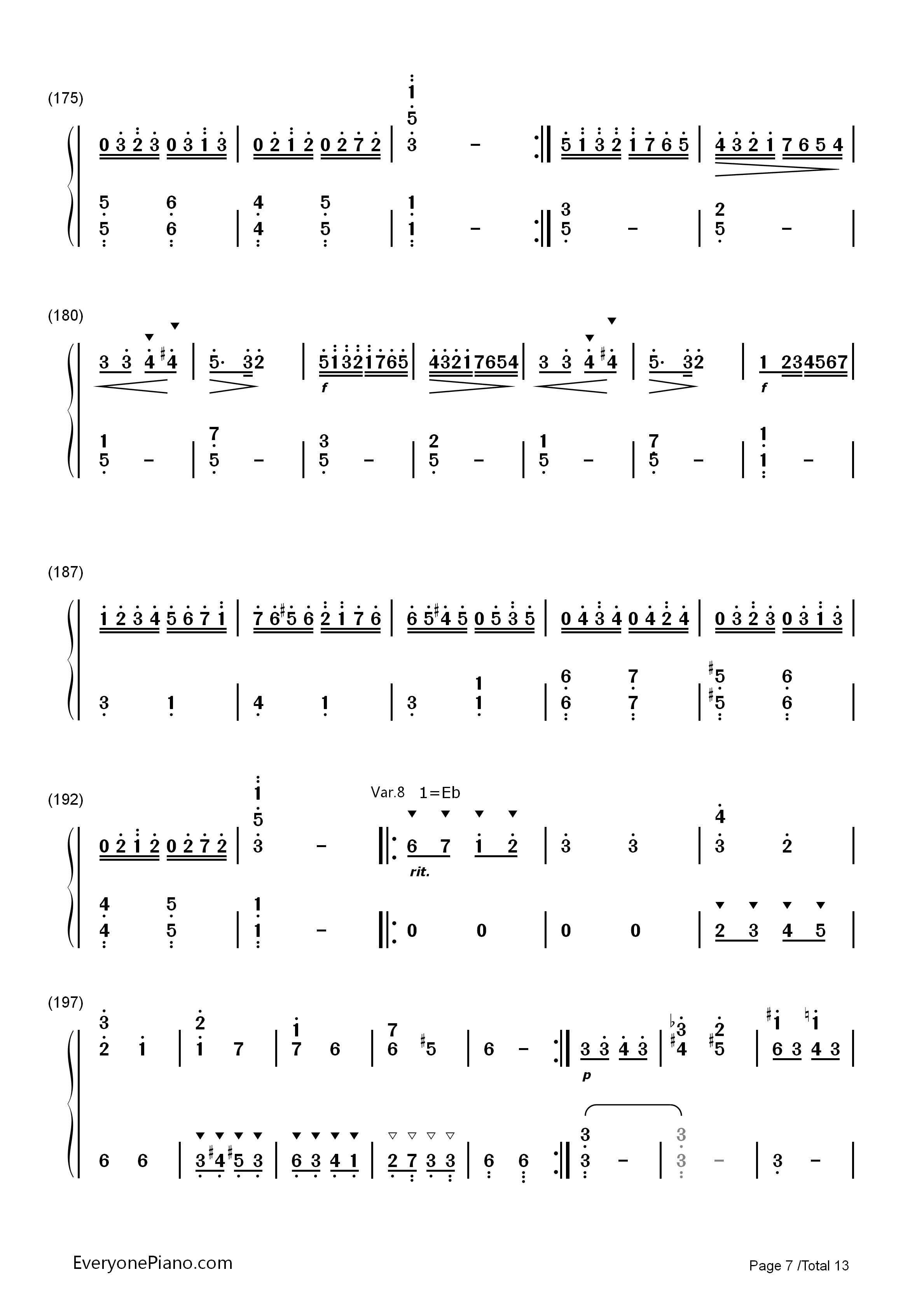 小星星变奏曲 莫扎特双手简谱预览 EOP在线乐谱架