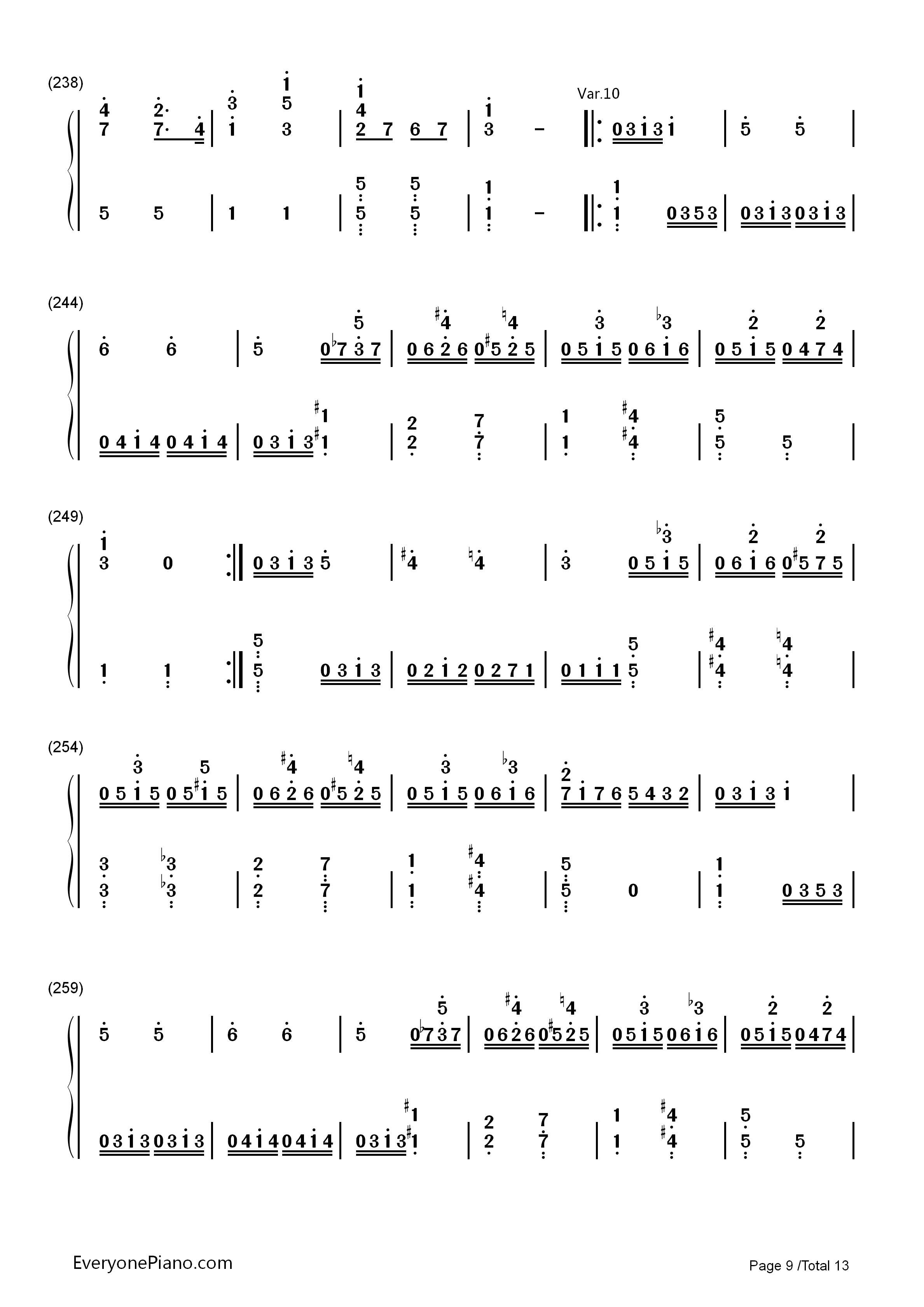 小星星变奏曲 莫扎特双手简谱预览 EOP在线乐谱架图片