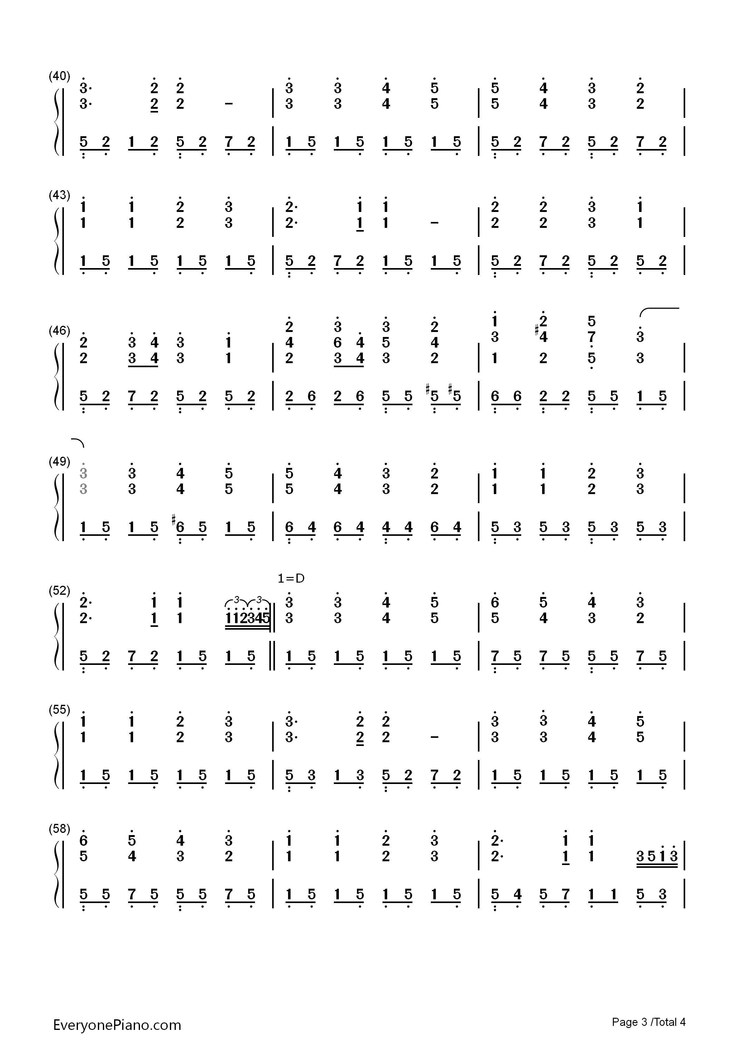 欢乐颂-完整版双手简谱预览3-钢琴谱