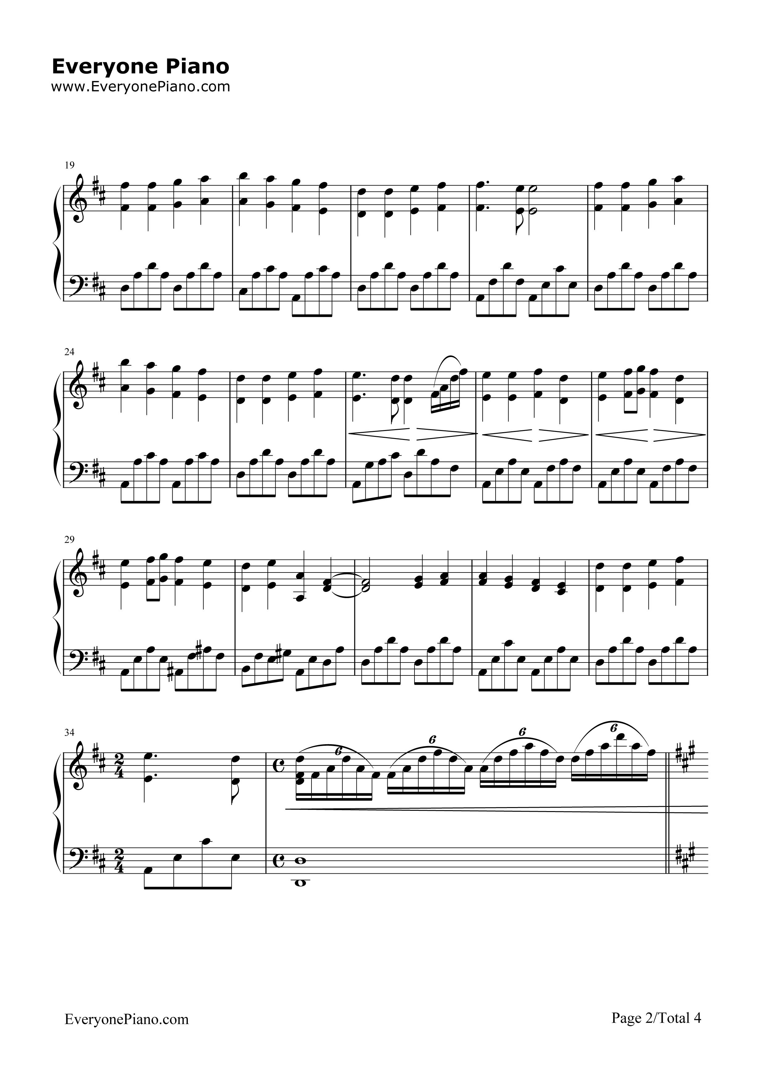 欢乐颂-完整版五线谱预览2