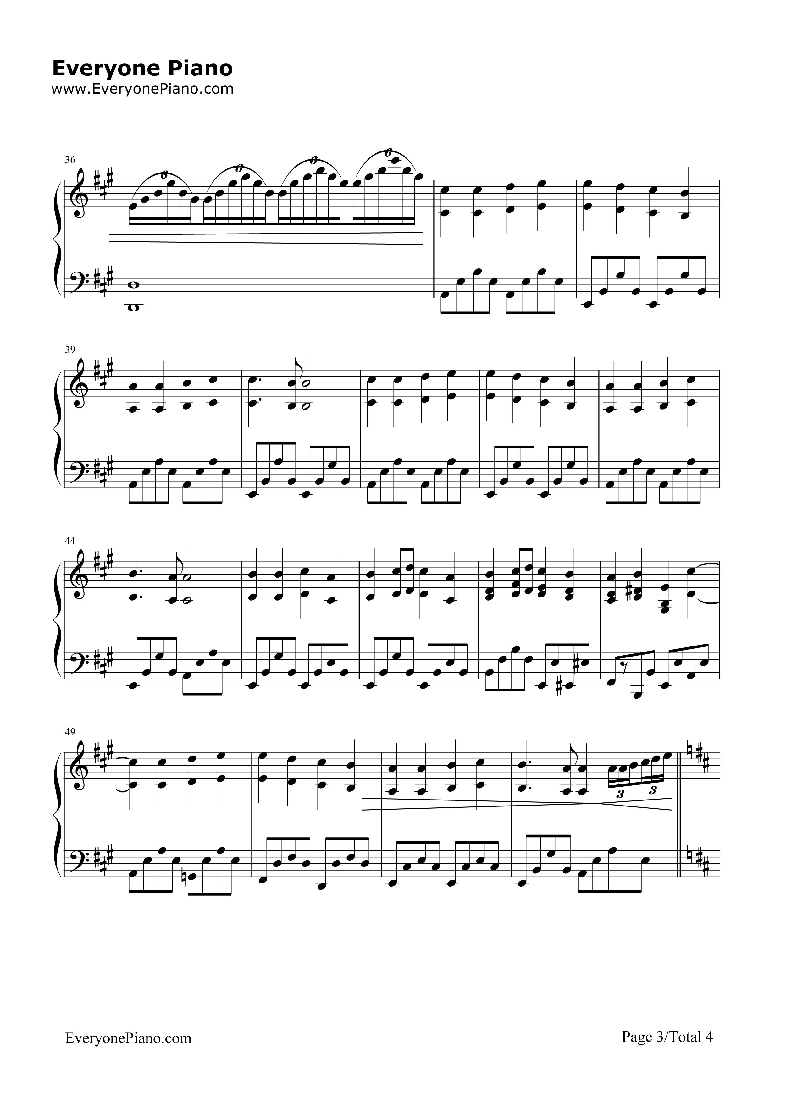 欢乐颂-完整版五线谱预览3
