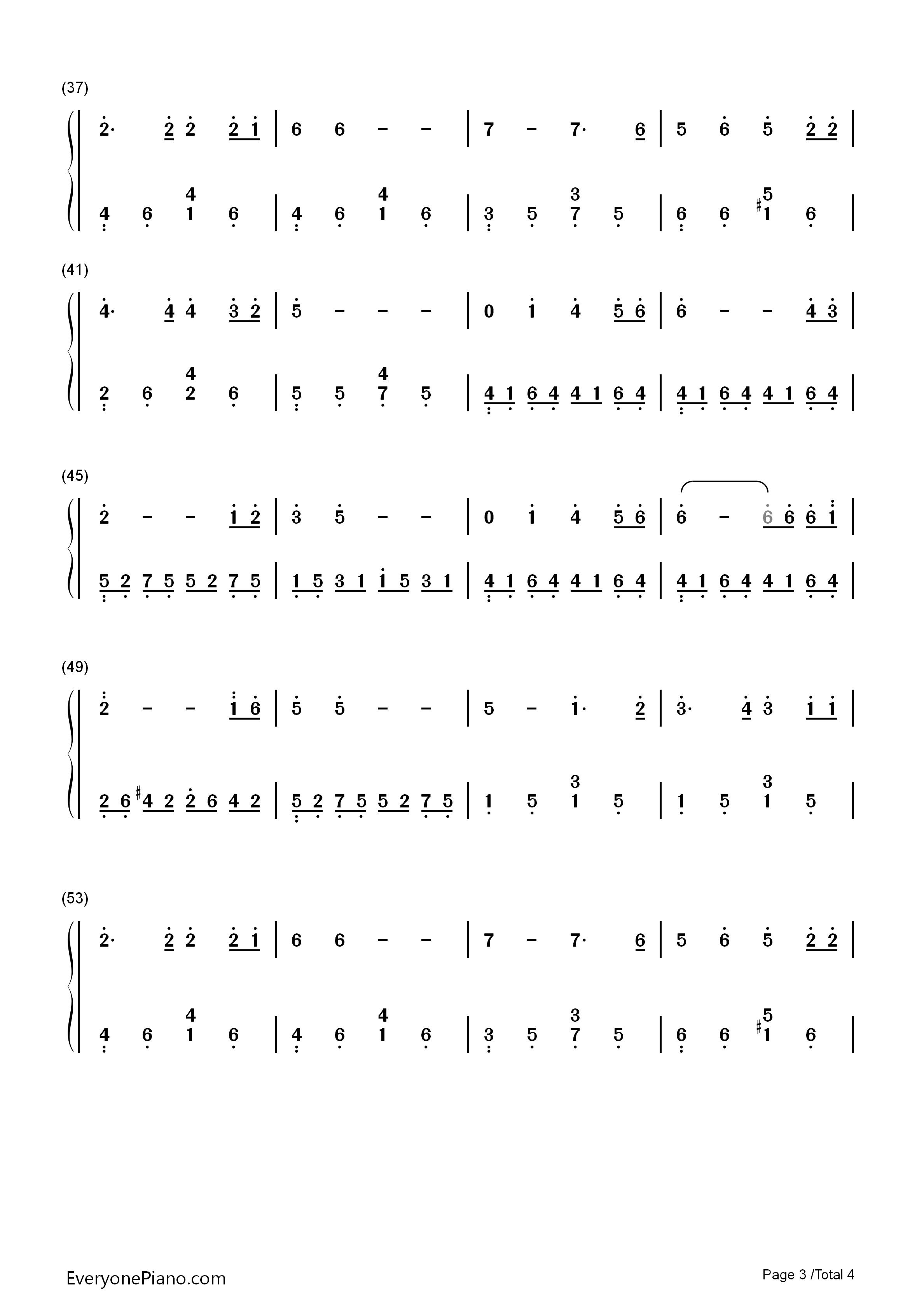 同一首歌-同一首歌主题曲双手简谱预览3-钢琴谱
