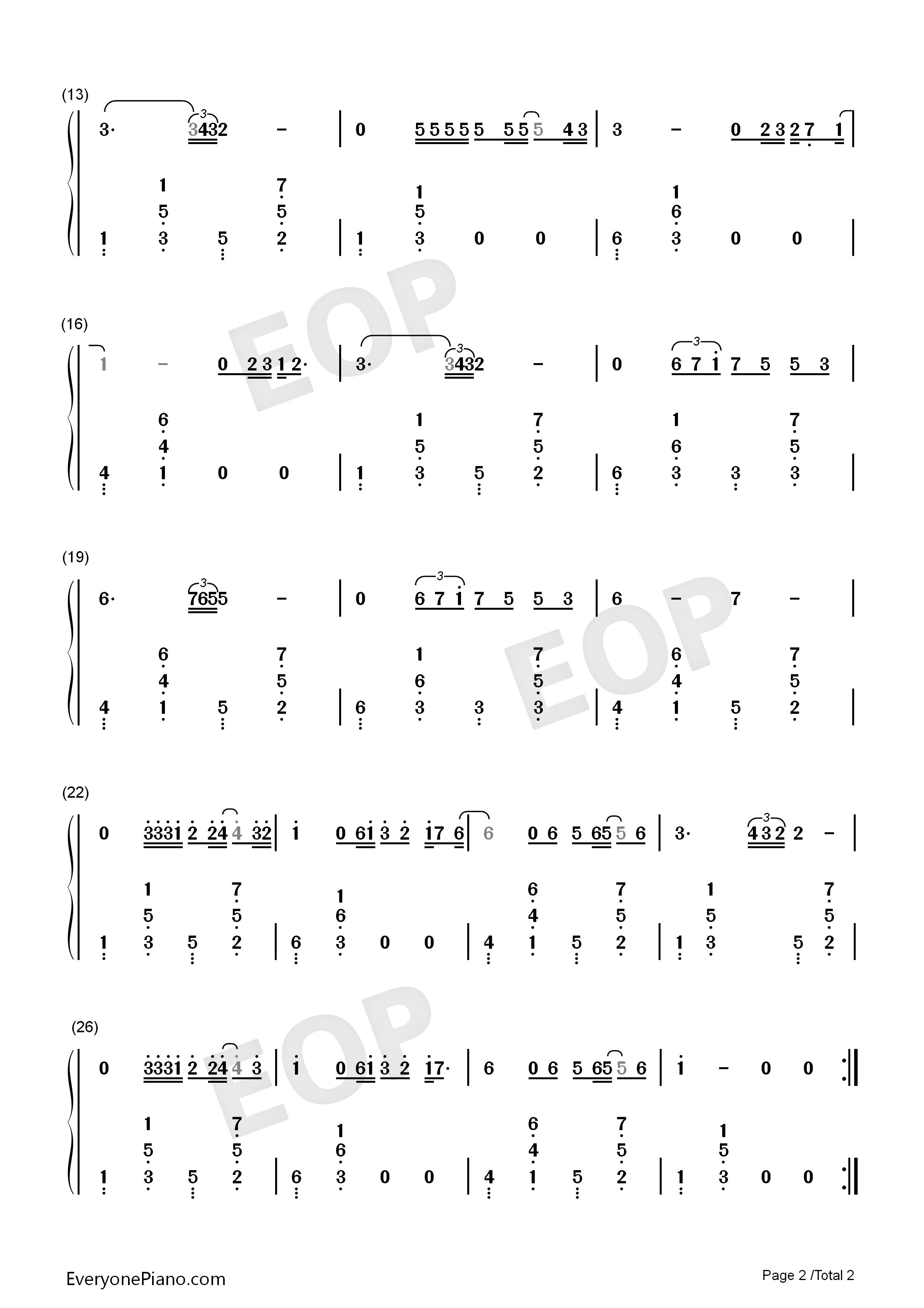 光辉岁月-beyond双手简谱预览2