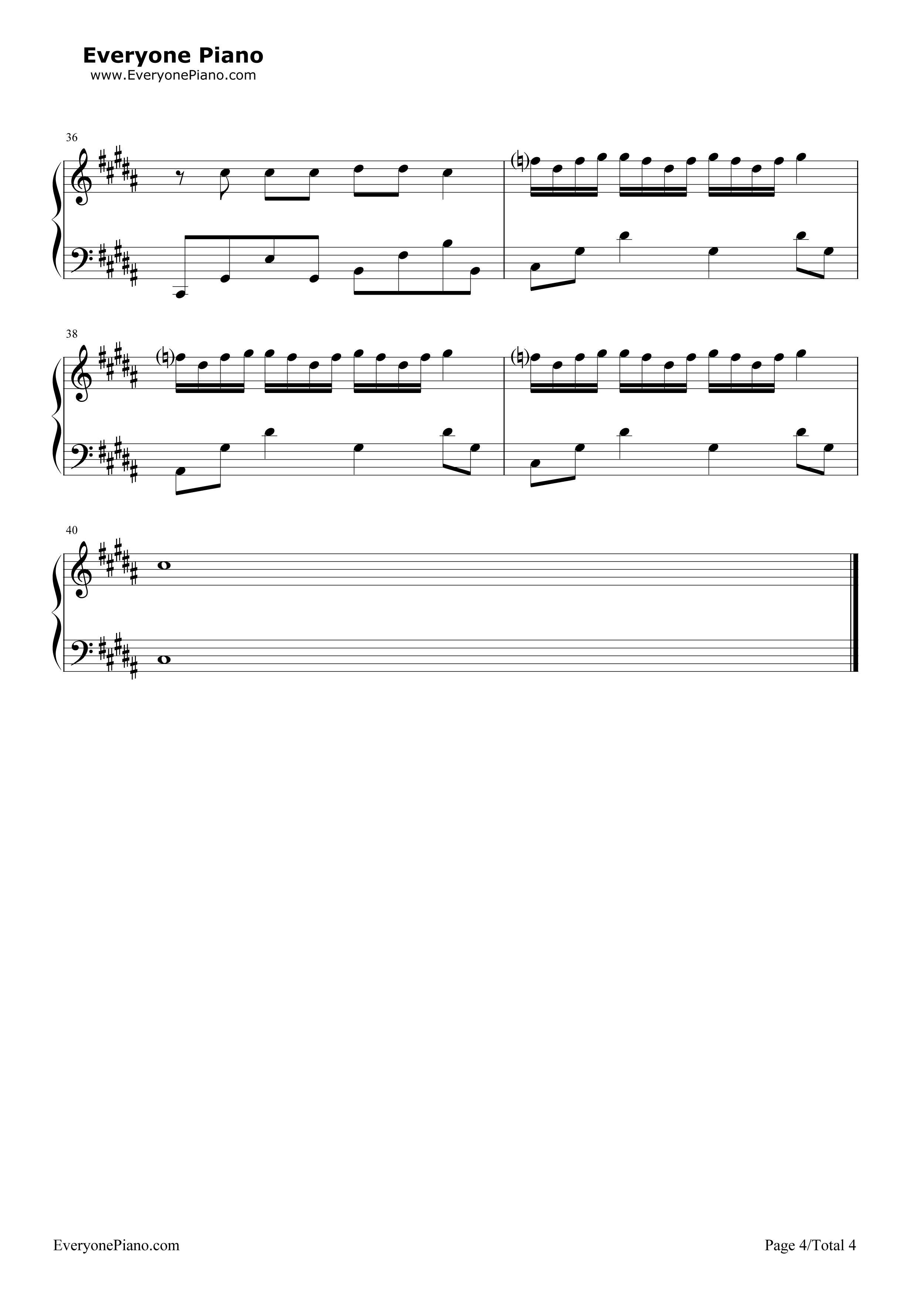 凤求凰-古琴曲五线谱预览4-钢琴谱(五线谱,双手简谱)