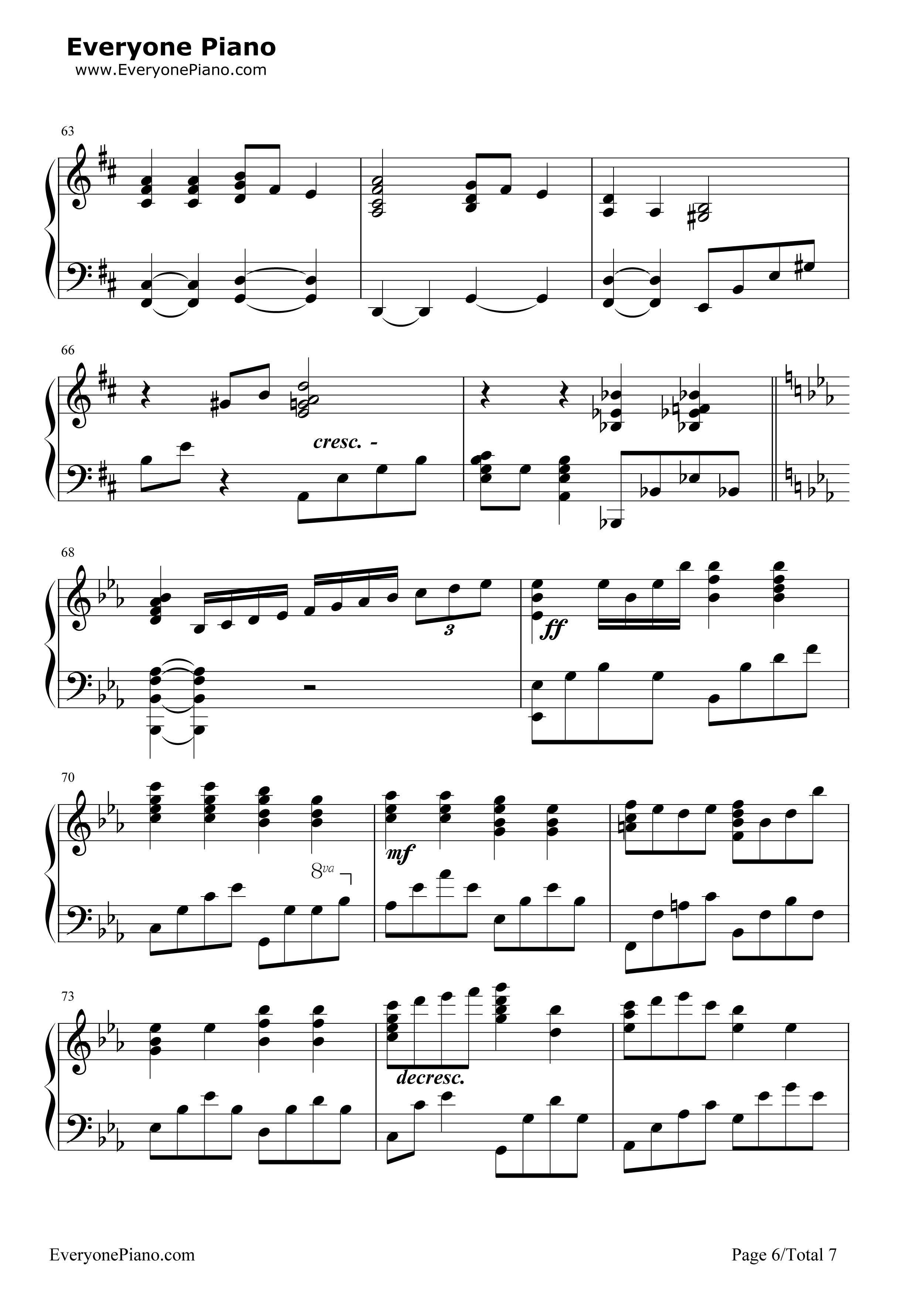 小星星幻想曲-v.k克五线谱预览6-钢琴谱(五线谱,双手)图片