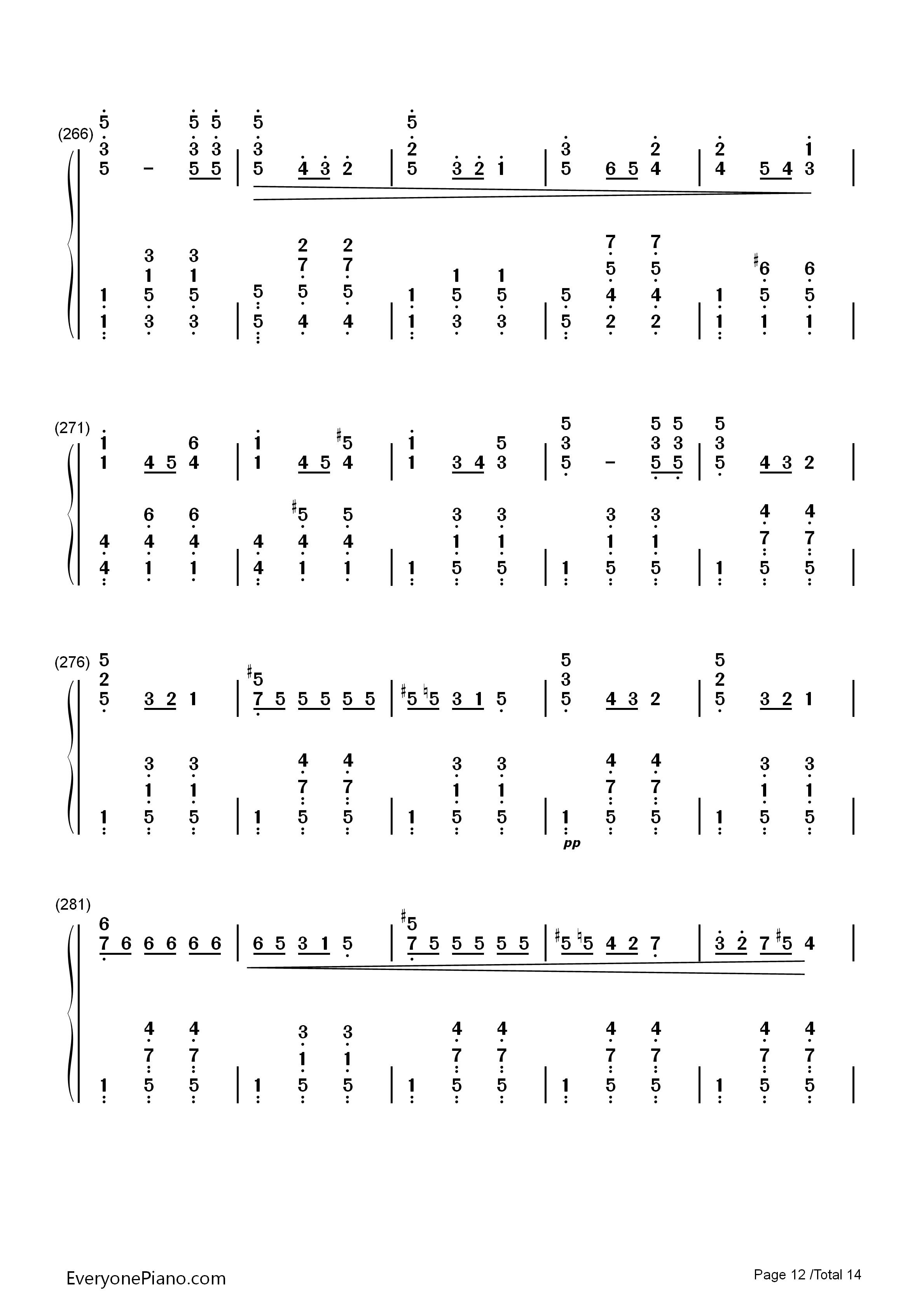 华丽大圆舞曲-肖邦双手简谱预览12-钢琴谱图片