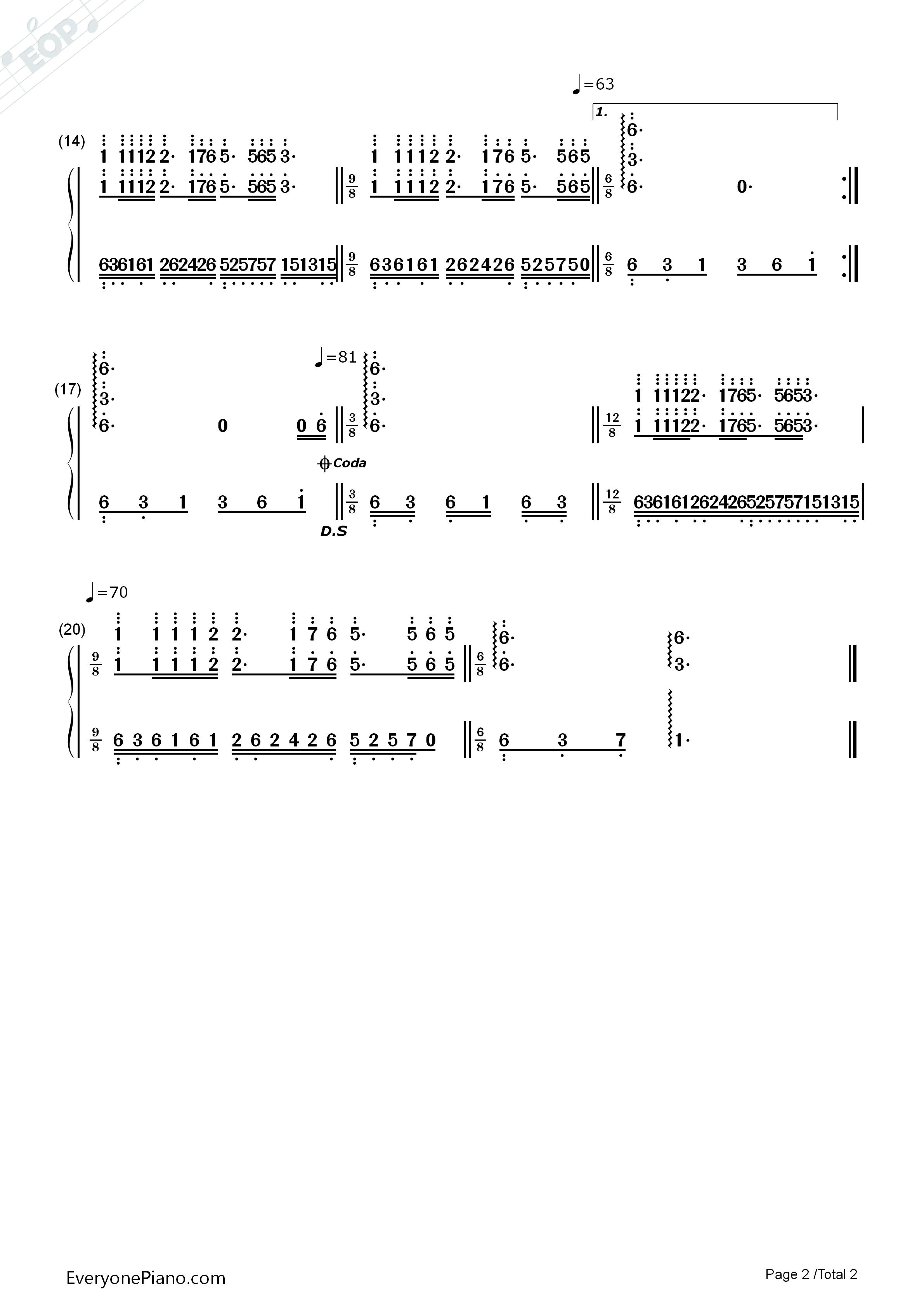梦中的婚礼-晚宴版双手简谱预览2-钢琴谱文件(五线谱