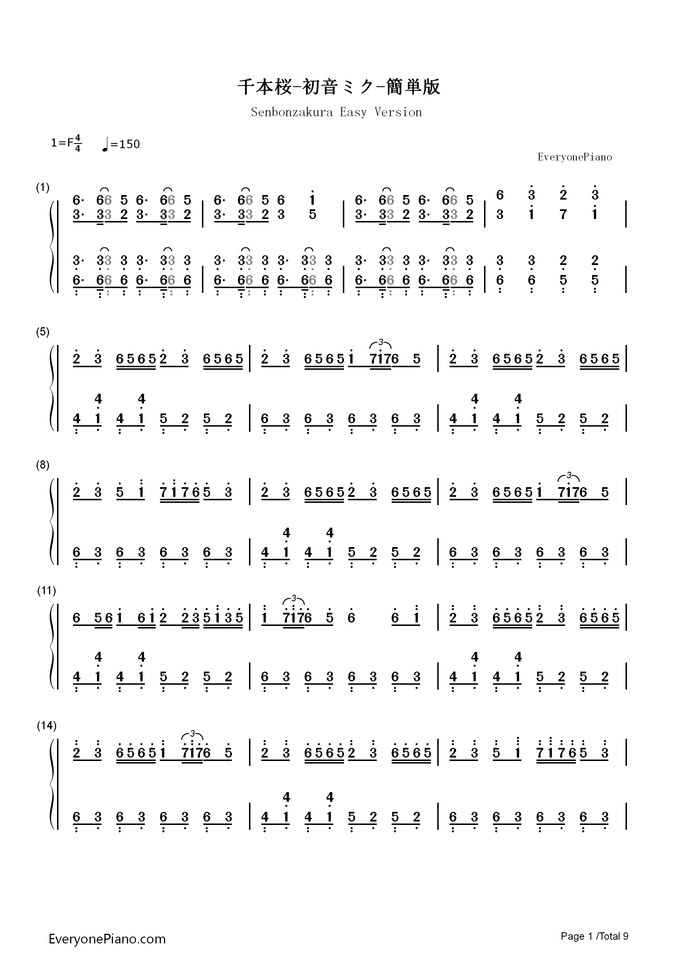 千本樱简单版-初音未来双手简谱预览1-钢琴谱文件图片
