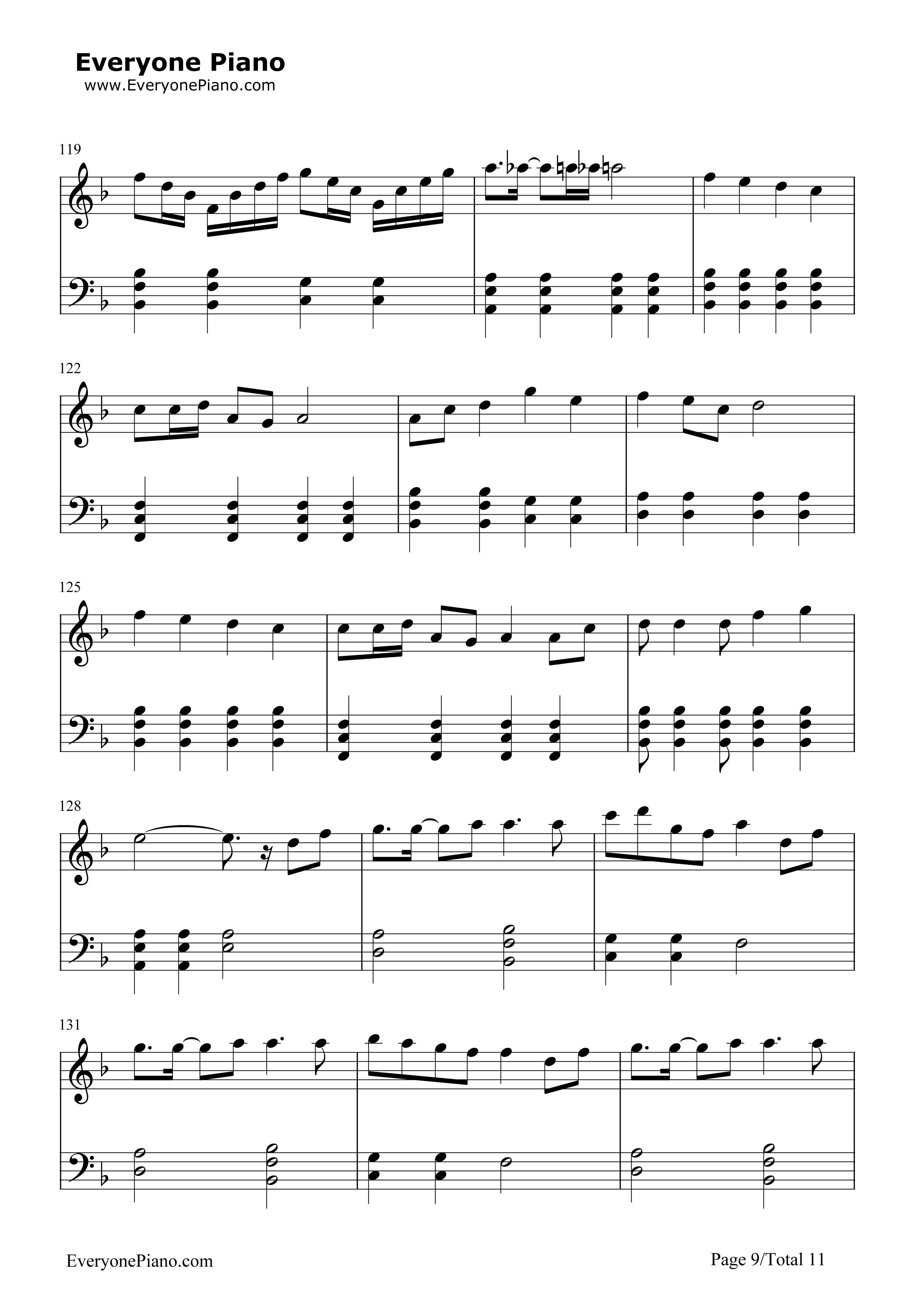 千本樱简单版-初音未来五线谱预览9