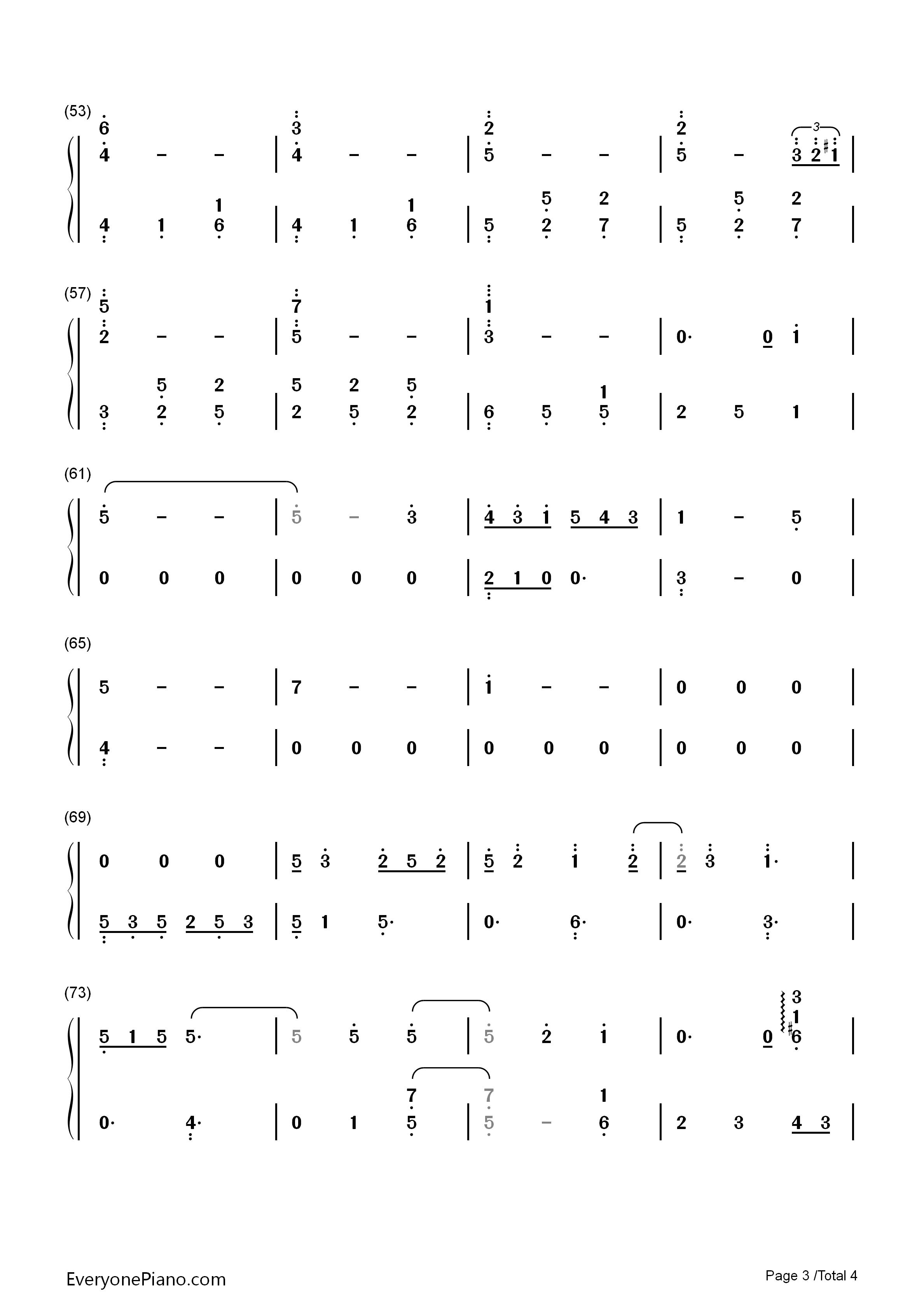 钢琴简谱单手
