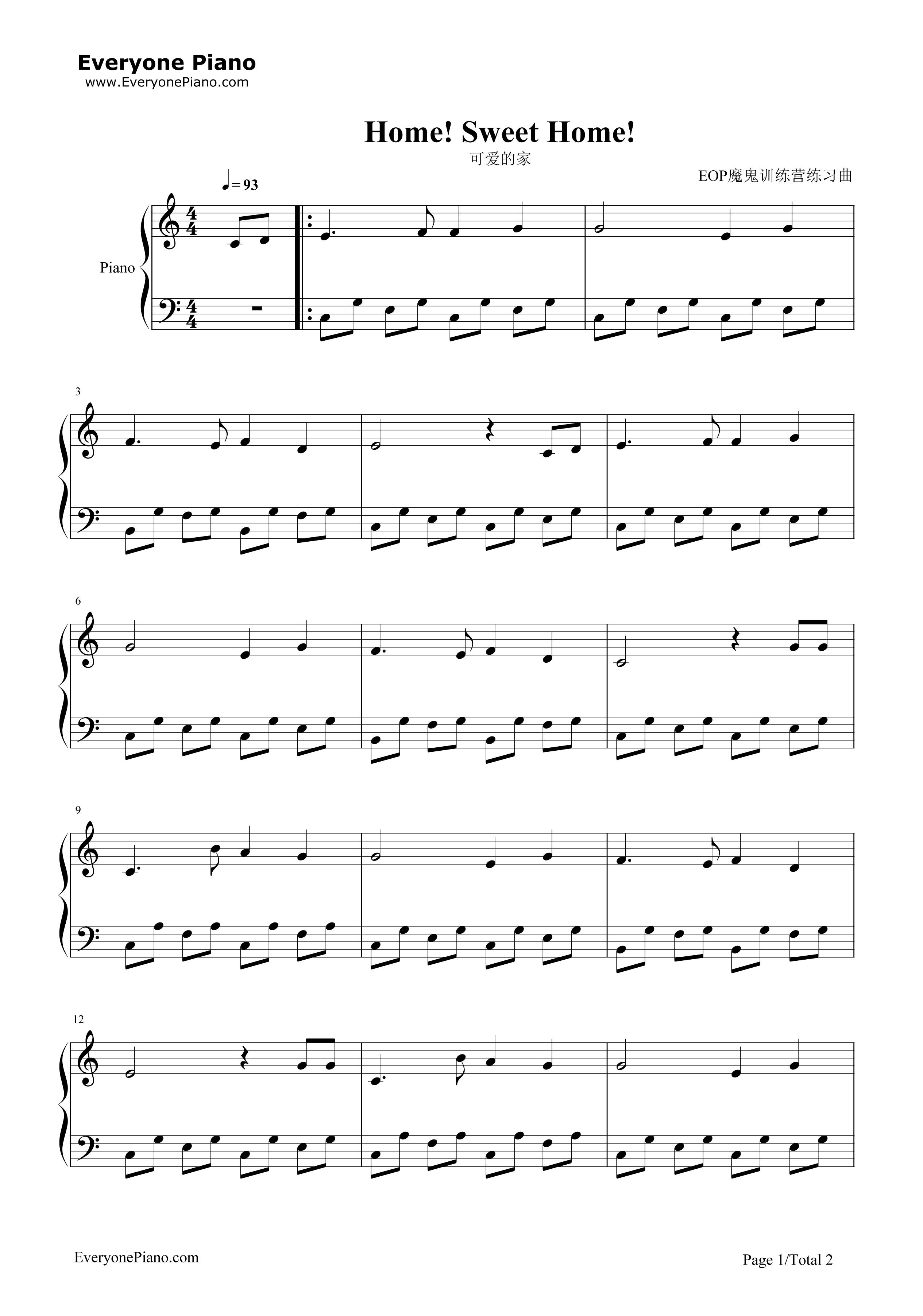 可爱的家-苏格兰民歌五线谱预览1