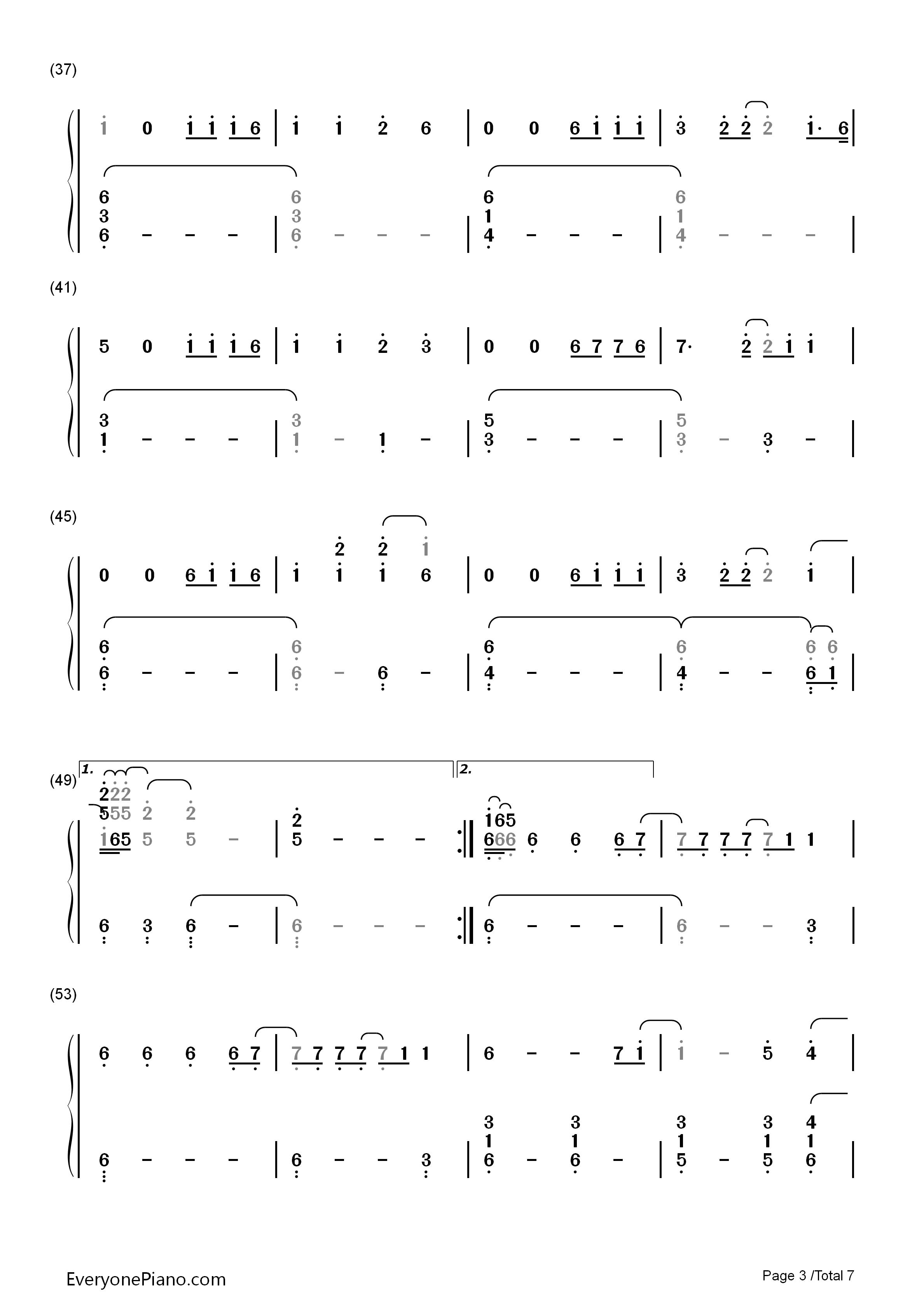 Hunt双手简谱预览3 钢琴谱文件 五线谱 双手简谱 数字谱 Midi PDF