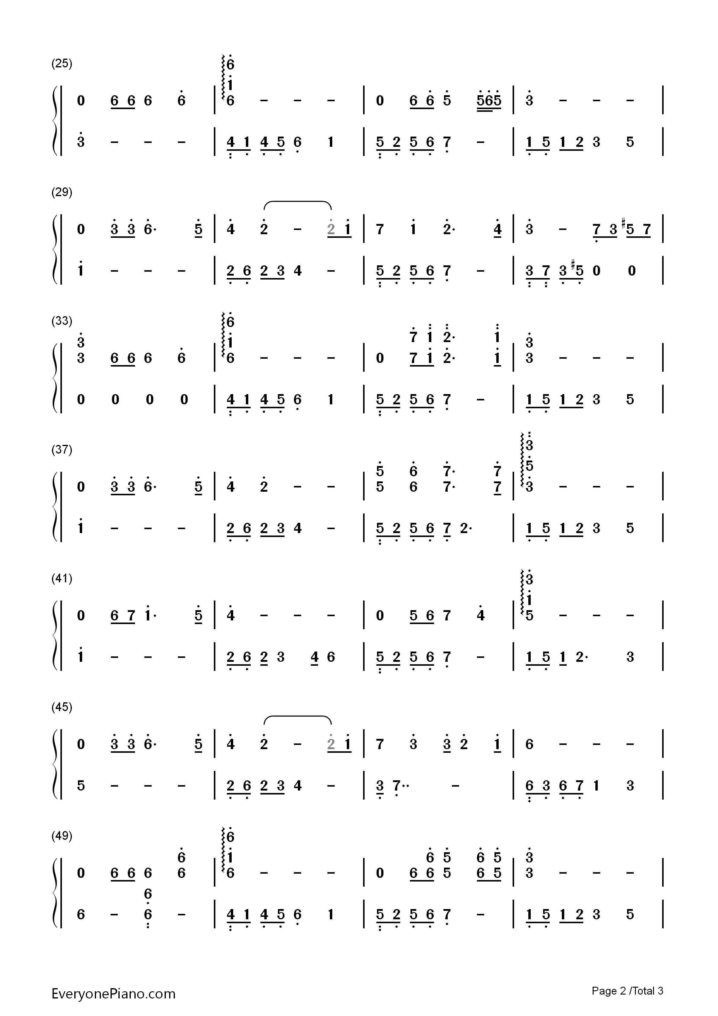贝加尔湖畔-李健双手简谱预览2-钢琴谱(五线谱,双手)