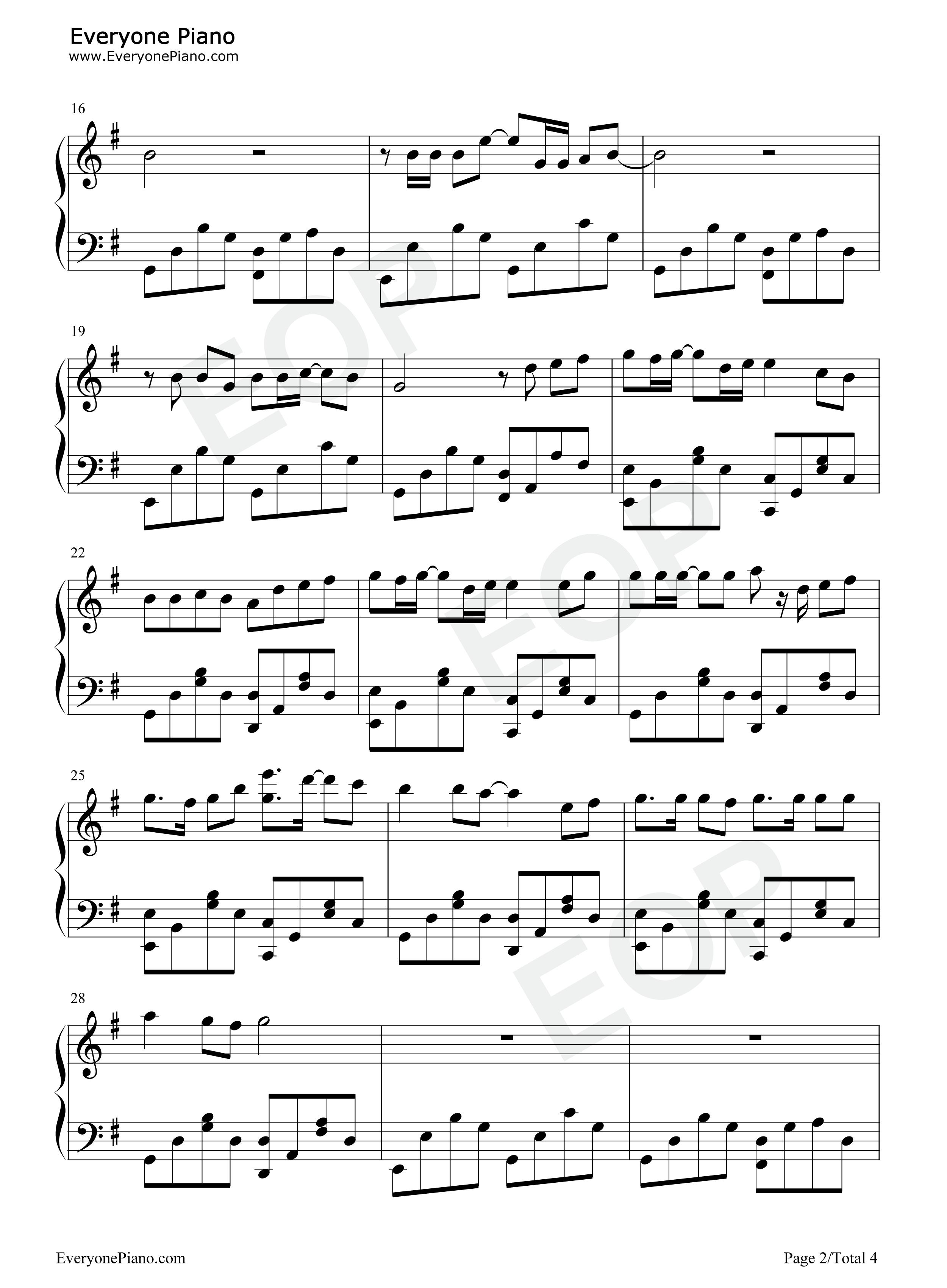 平凡之路-后会无期主题曲五线谱预览2-钢琴谱文件图片