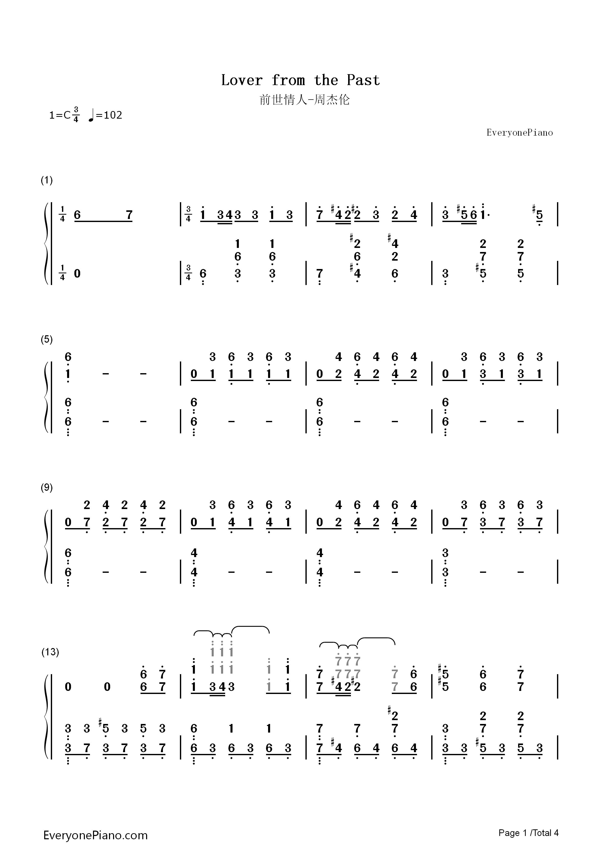 前世情人-周杰伦双手简谱预览1-钢琴谱文件(五线谱