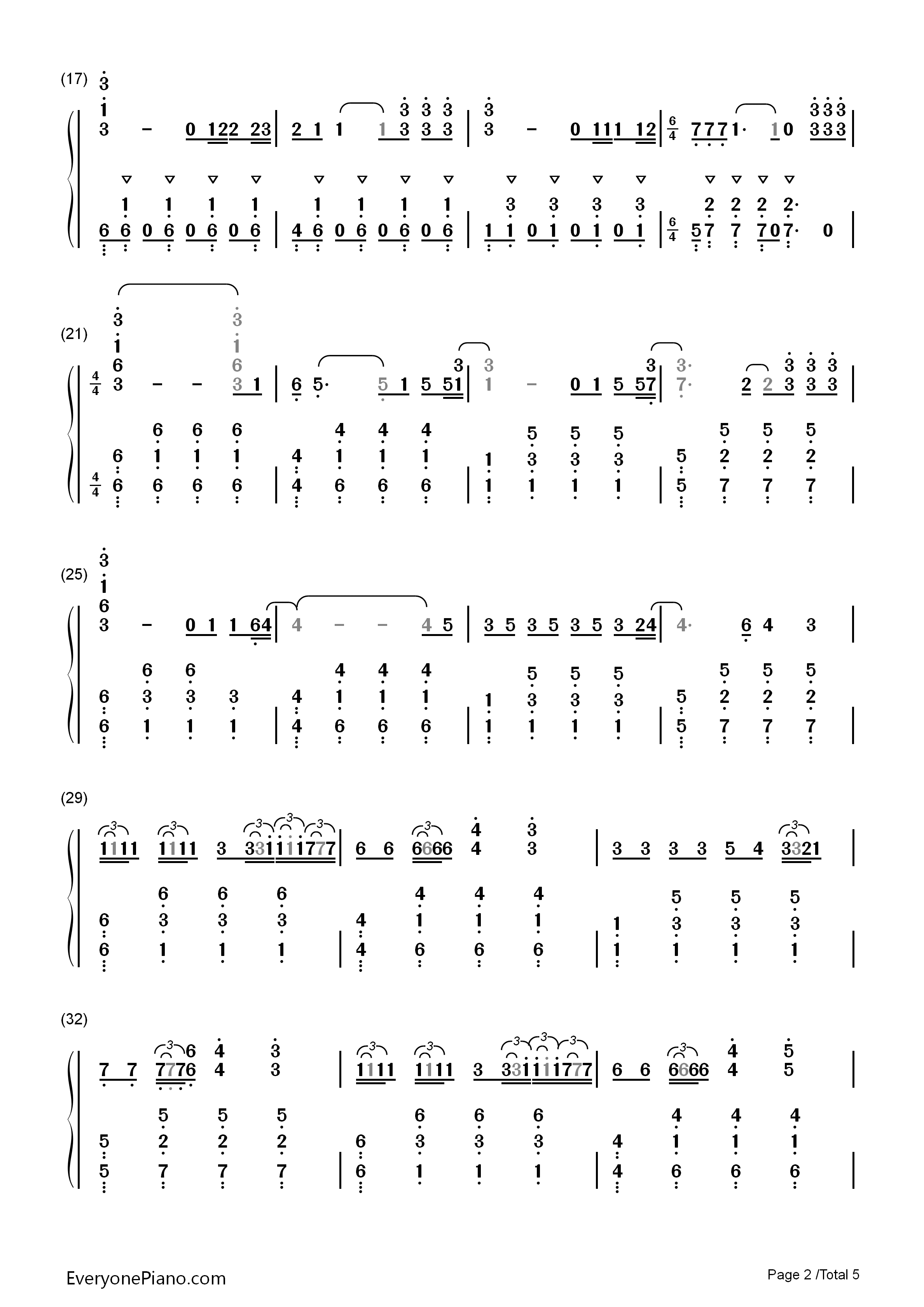 faded-alan walker双手简谱预览2-钢琴谱文件(五线谱