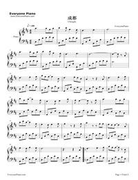 成都-赵雷-钢琴谱文件(五线谱,双手简谱,数字谱,midi图片