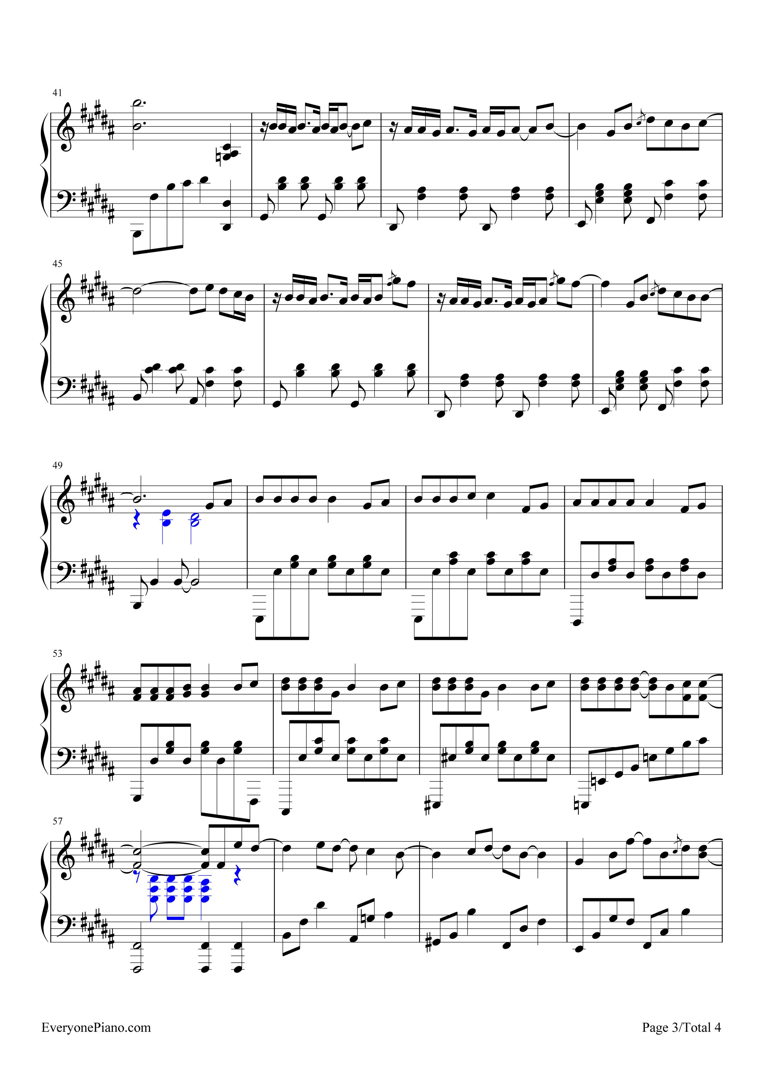 告白气球-完美演奏版五线谱预览3-钢琴谱文件(五线谱