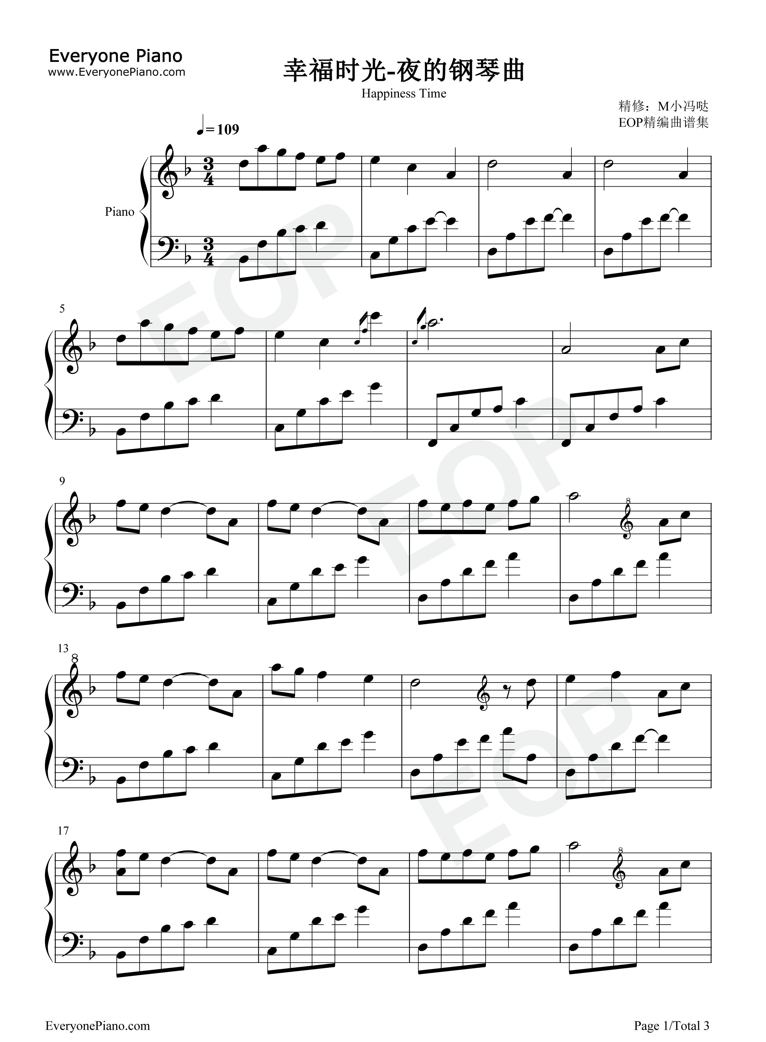 幸福时光 夜的钢琴曲五线谱预览 EOP在线乐谱架