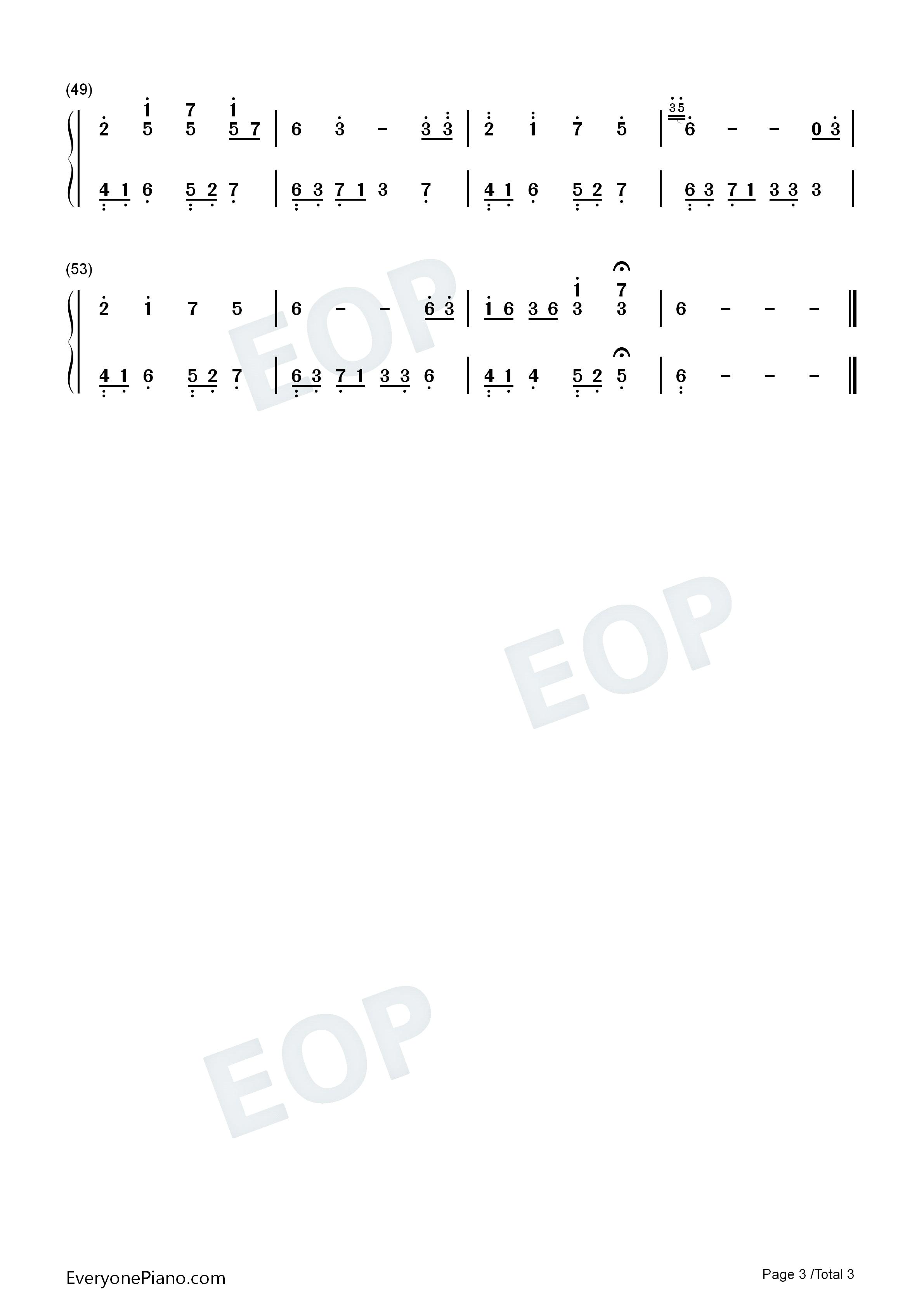 忆-夜的钢琴曲双手简谱预览3