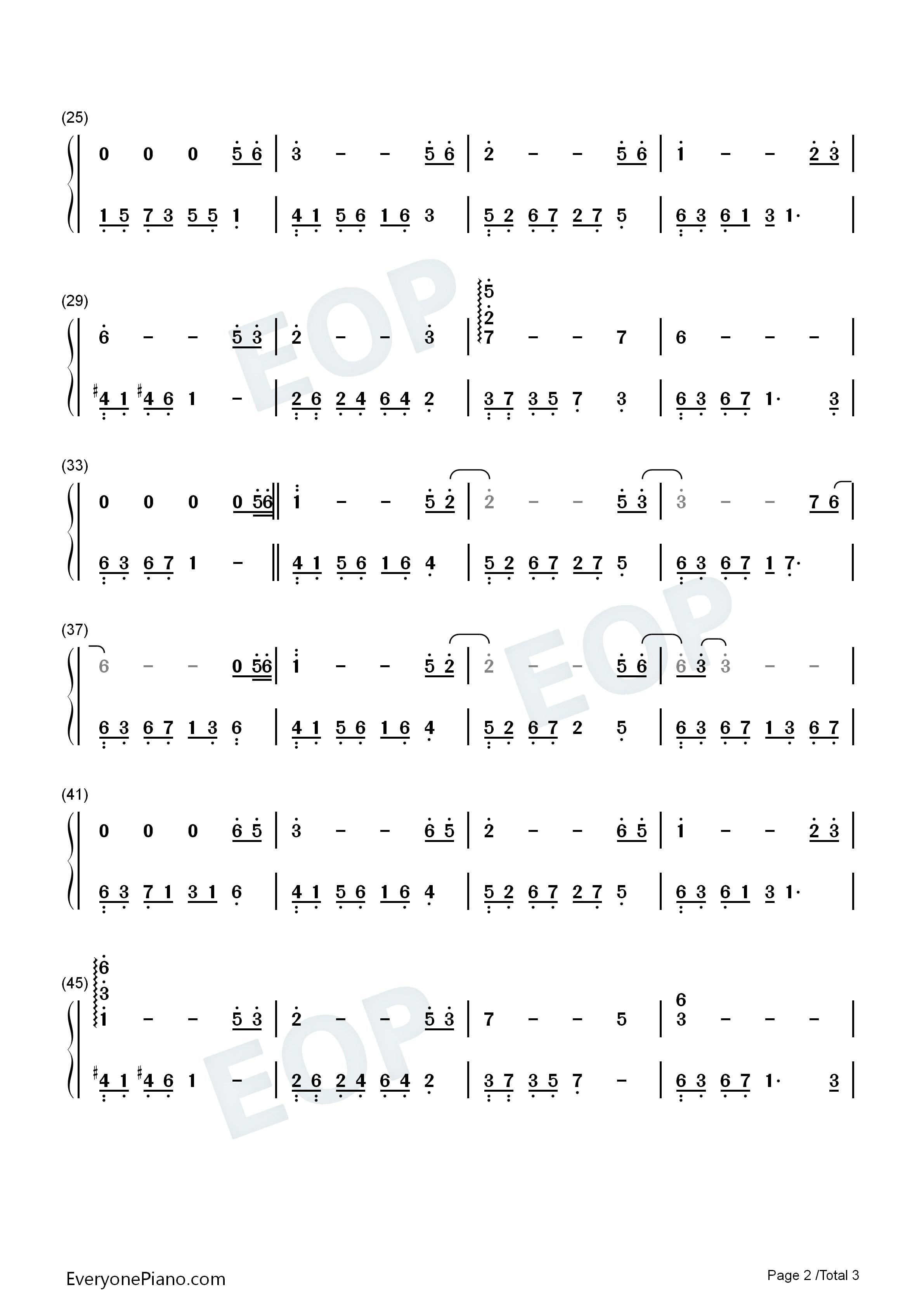 忘了我爱你-夜的钢琴曲 Ⅱ双手简谱预览2