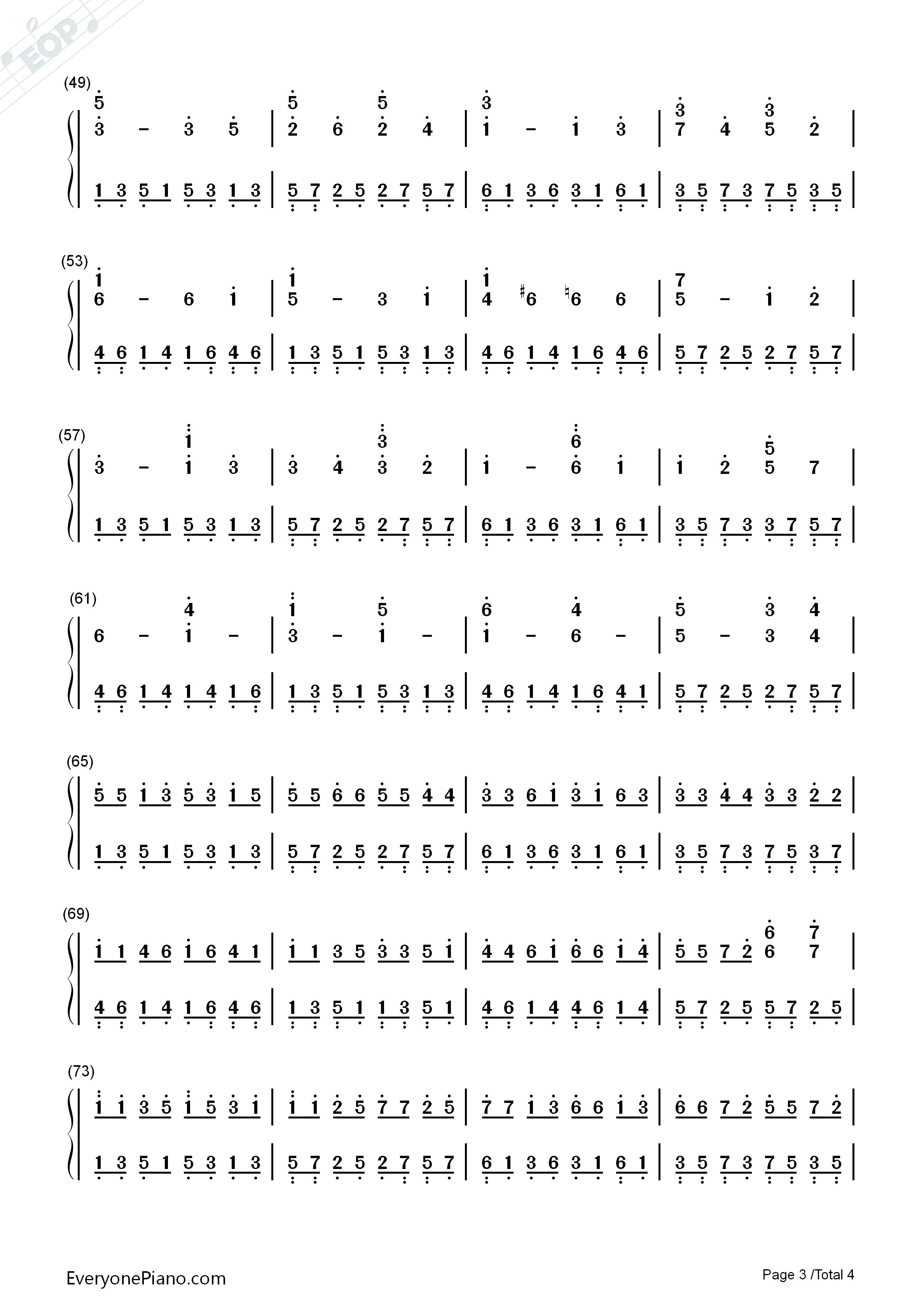 钢琴曲谱 轻音乐 d大调卡农-帕赫贝尔 d大调卡农-帕赫贝尔双手简谱