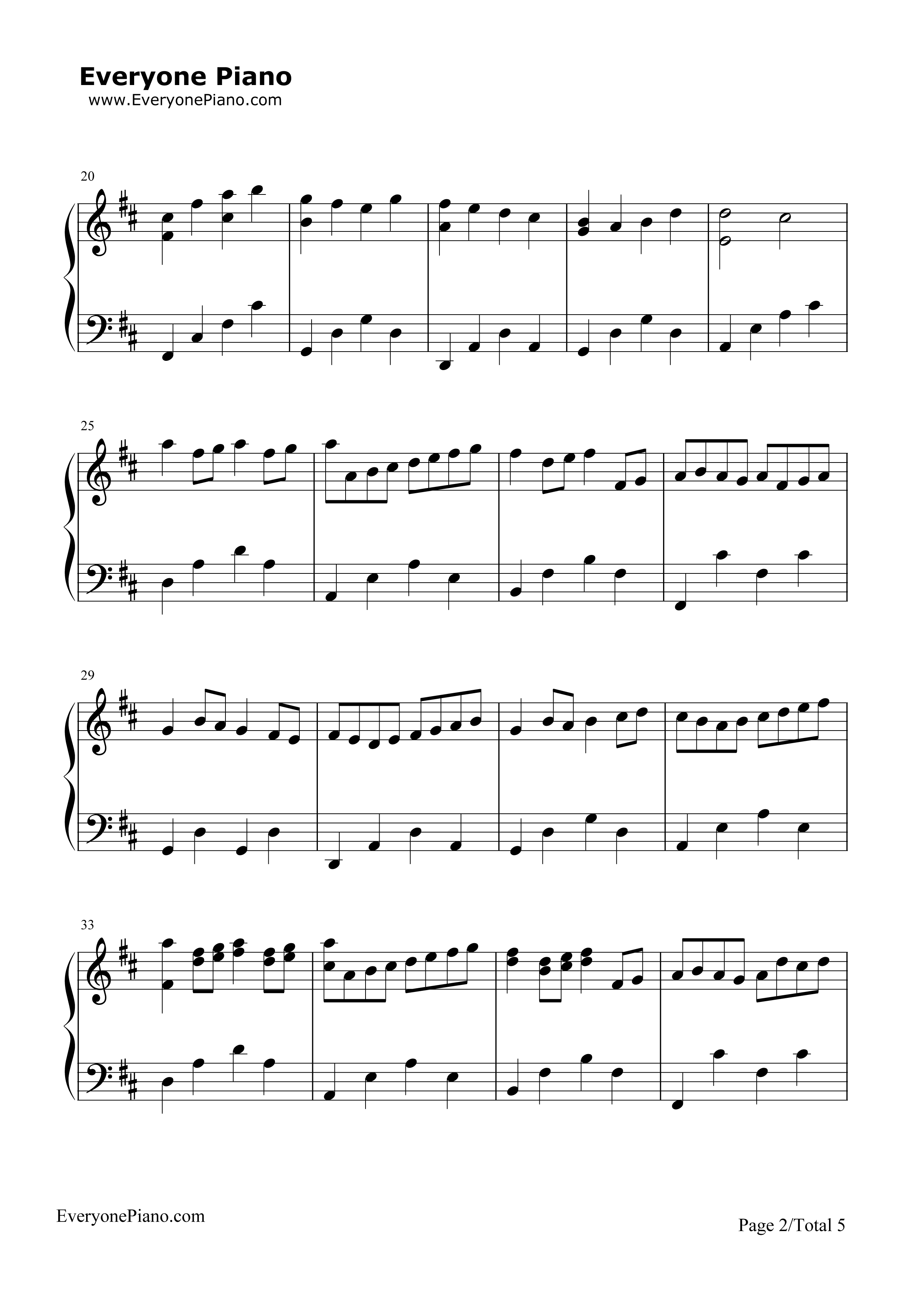 D大调卡农 帕赫贝尔五线谱预览 EOP在线乐谱架