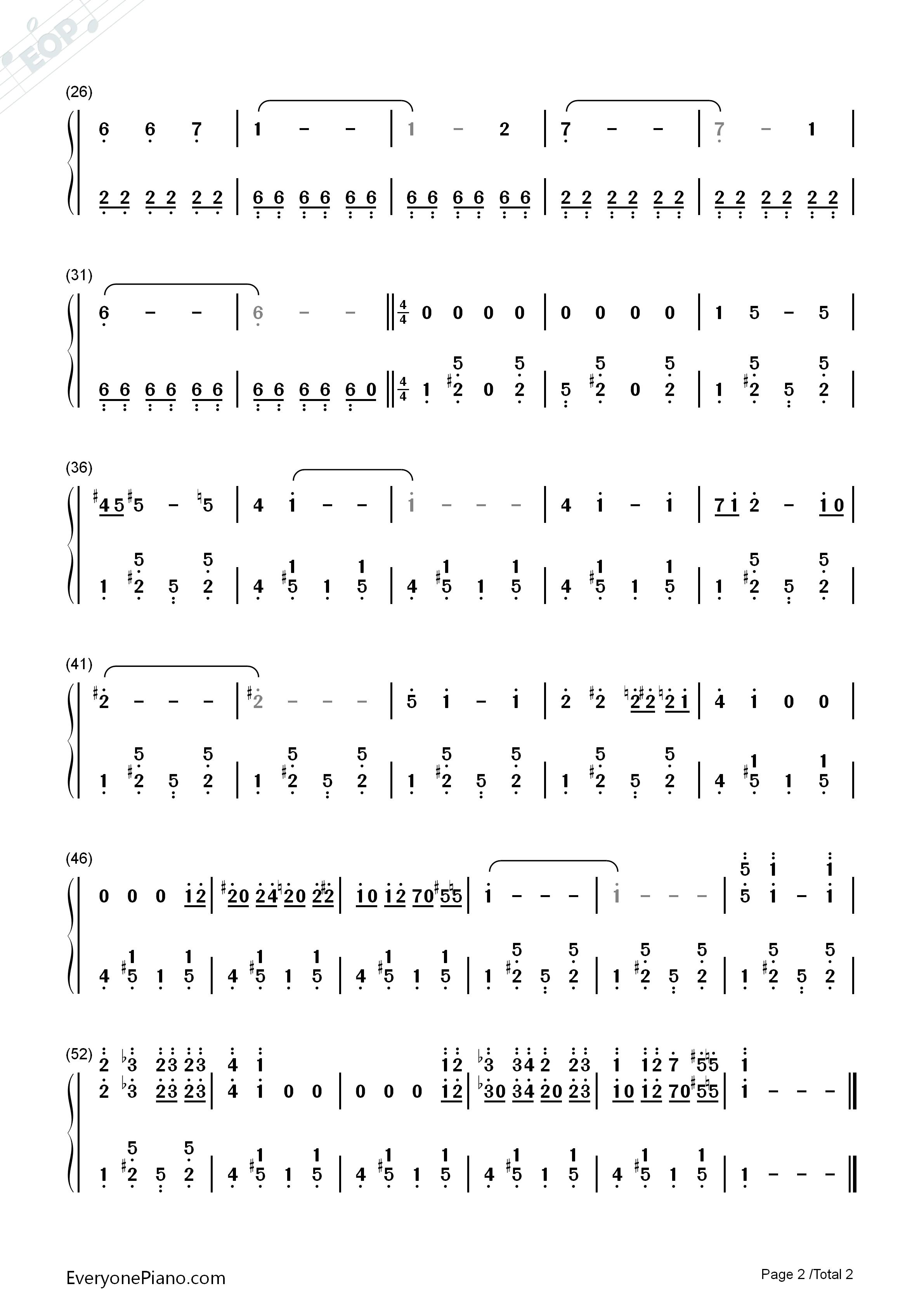 33 12 50 20 >> 神探夏洛克主题曲-简单版双手简谱预览-EOP在线乐谱架
