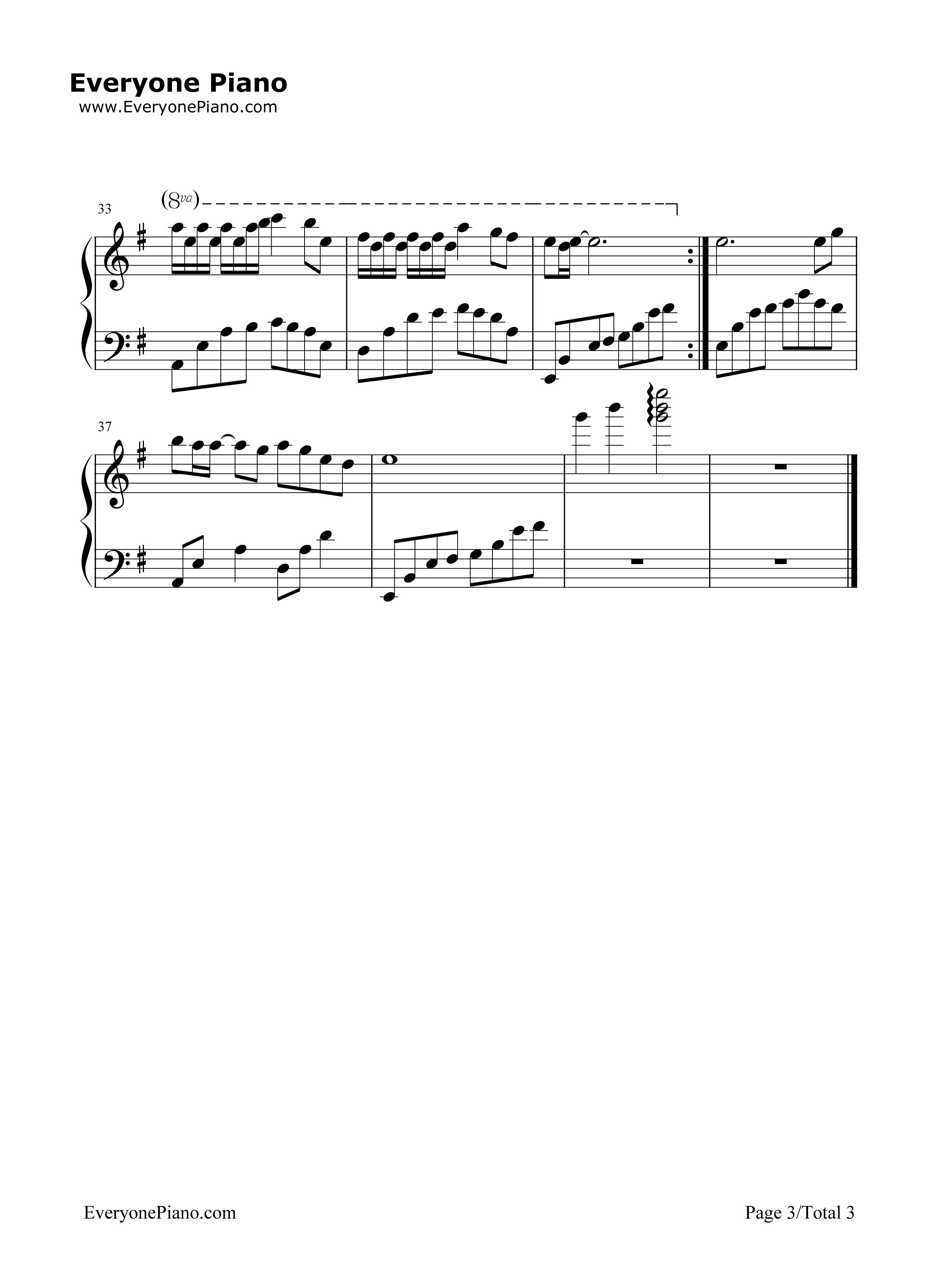 钢琴曲谱 影视 一生所爱-简单好听版 一生所爱-简单好听版五线谱预览3