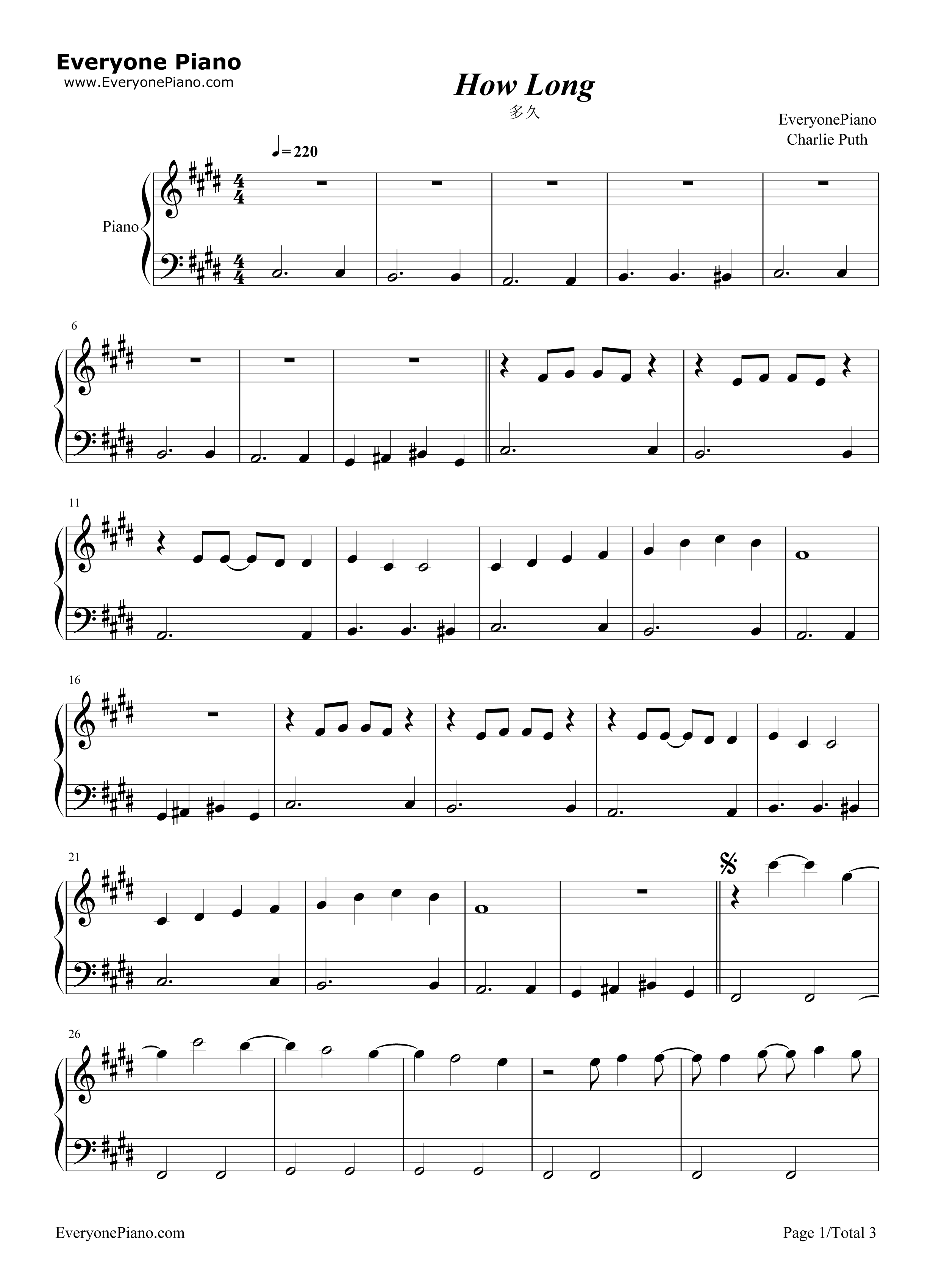 ie Puth五线谱预览1 钢琴谱文件 五线谱 双手简谱 数字谱 Midi PDF