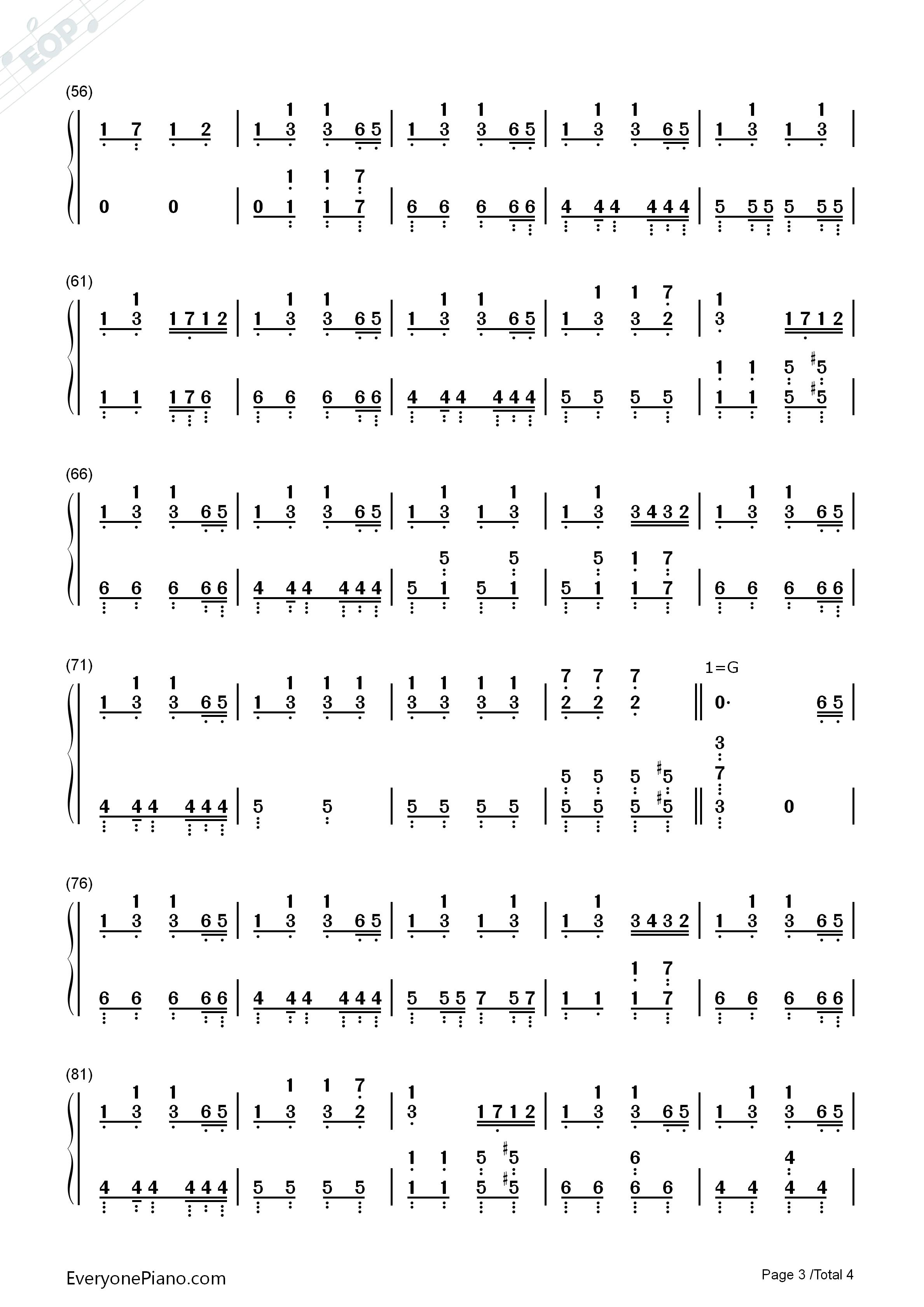 踩到猫儿-拜厄双手简谱预览3-钢琴谱文件(五线谱,双手