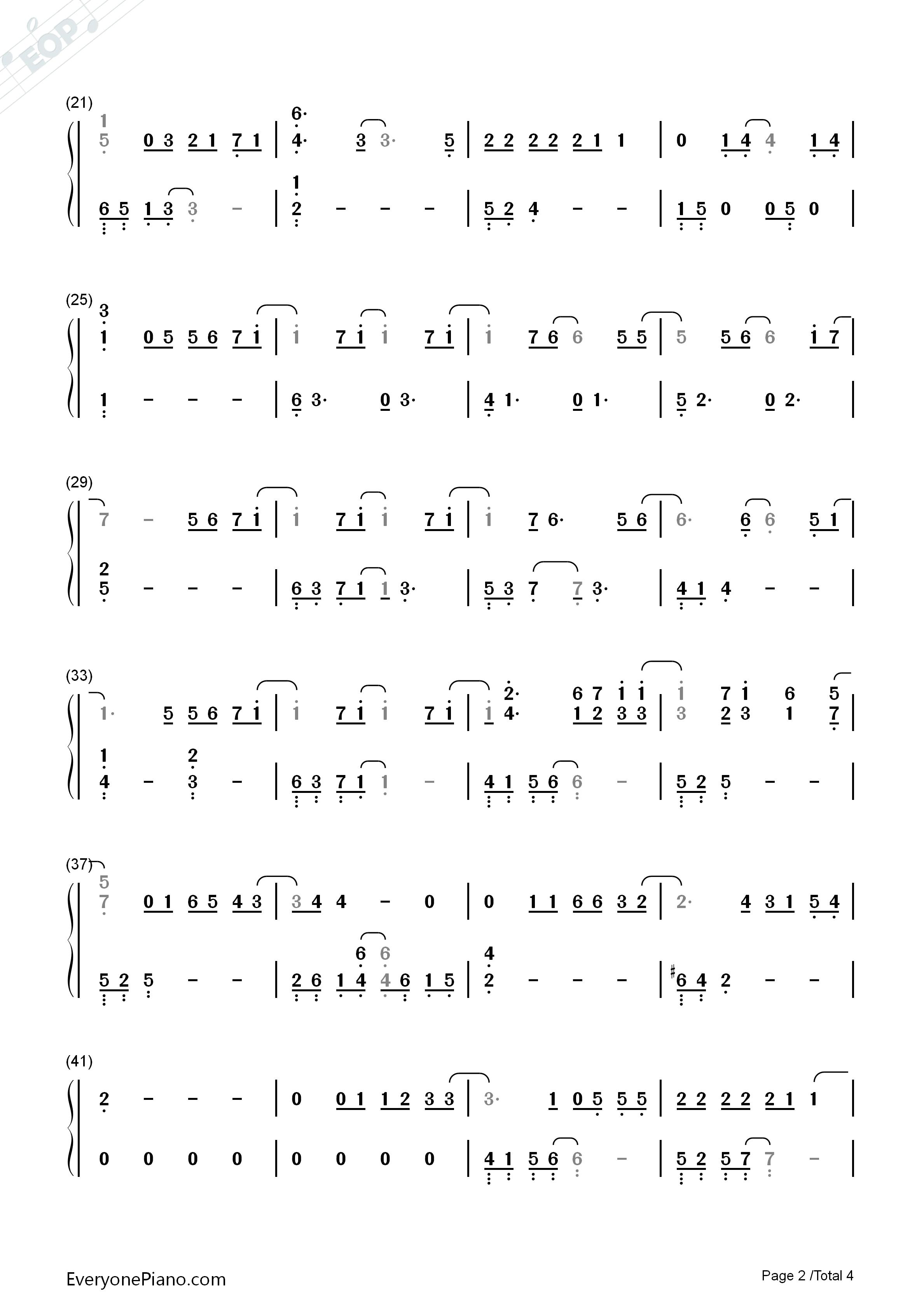 永远的鲜花双声部曲谱-览 EOP在线乐谱架