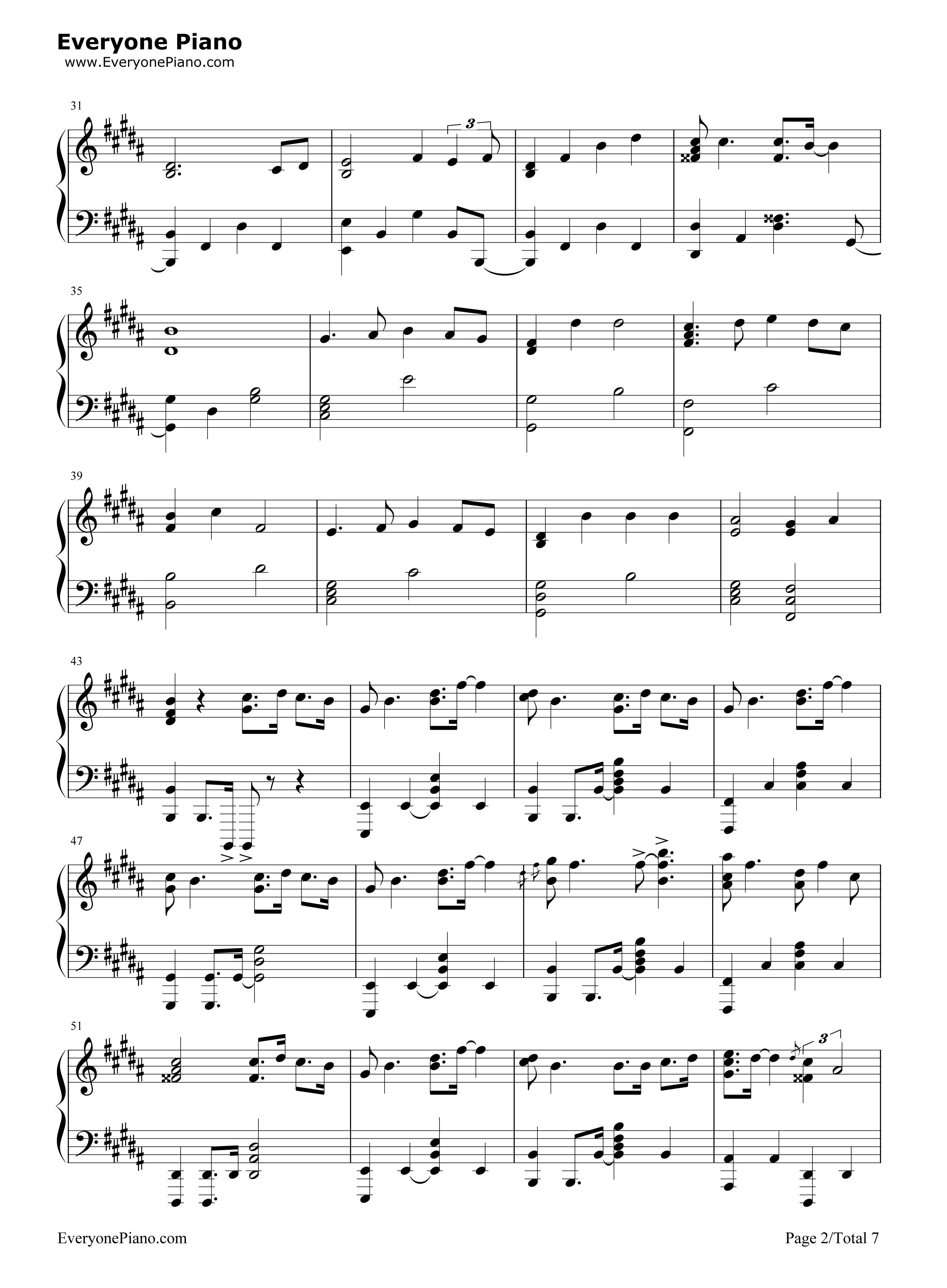 lemon-unnatural主题曲五线谱预览2-钢琴谱文件(,双手