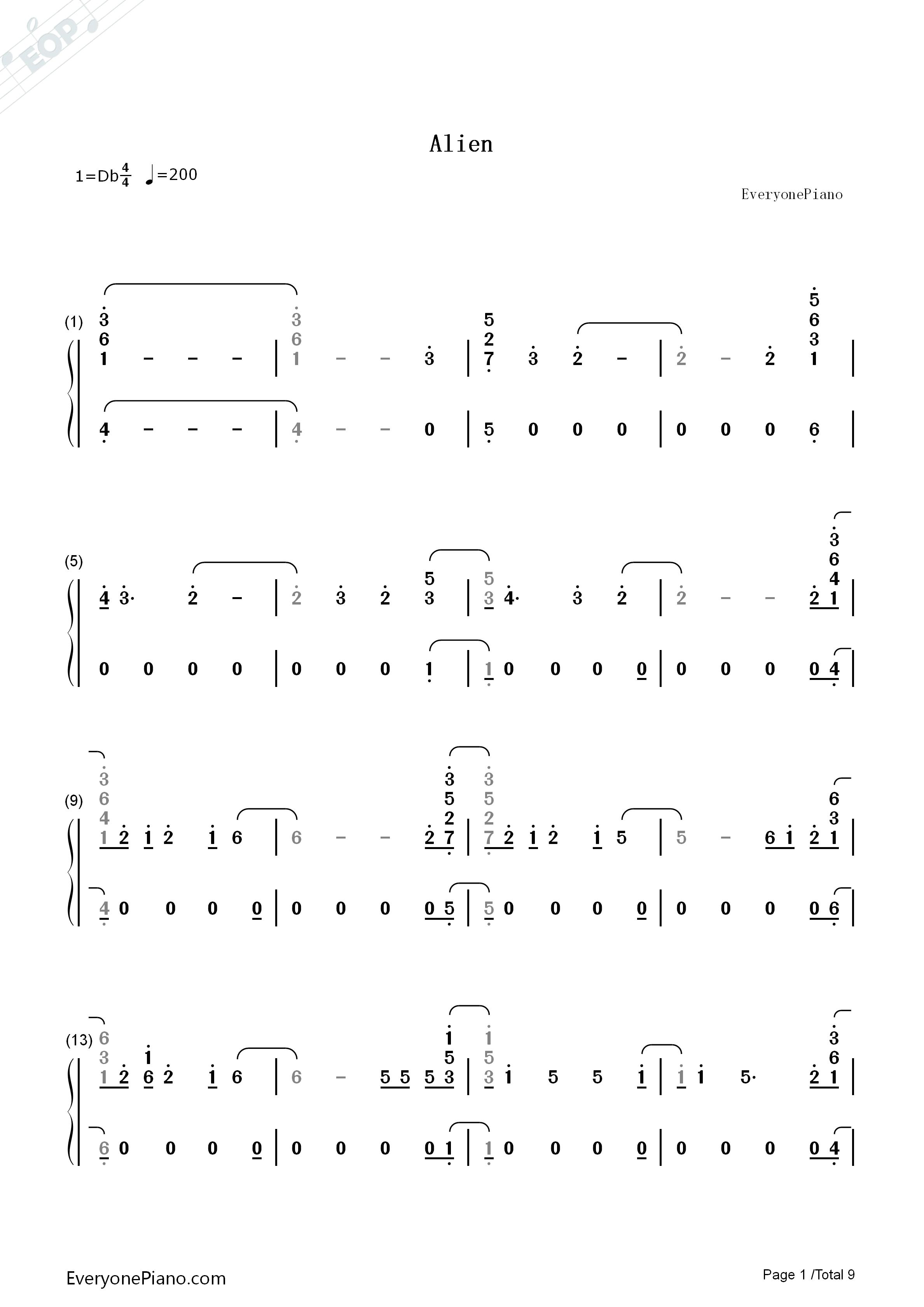 赵雷钢琴五线谱