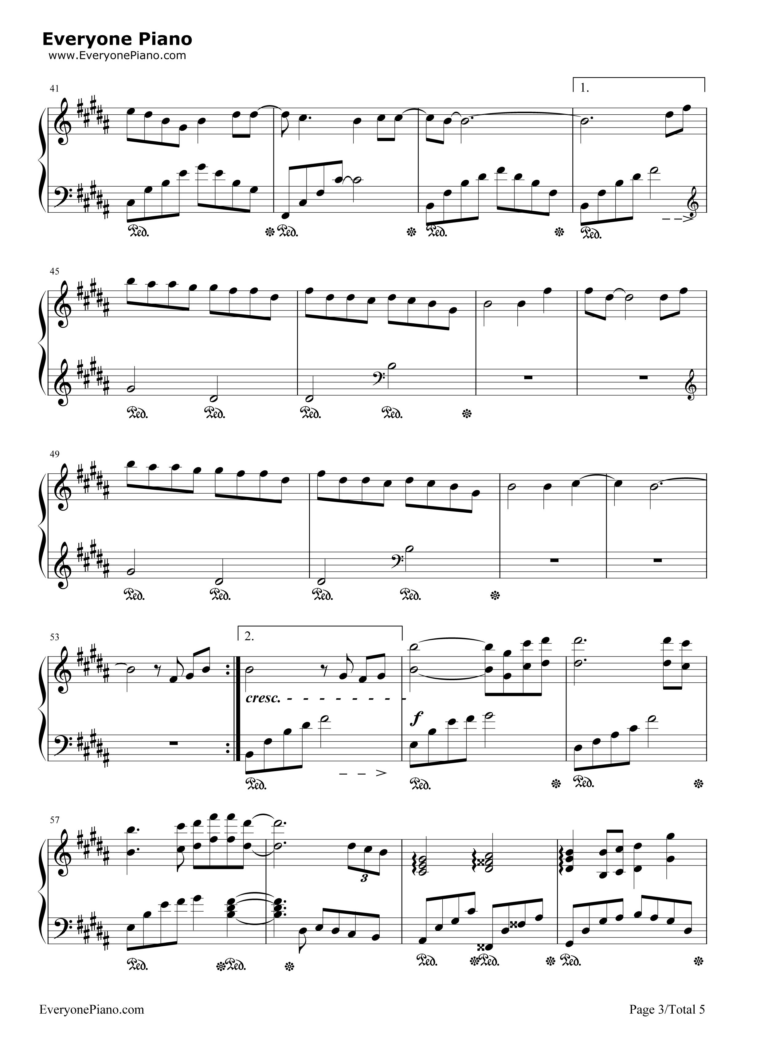 蜀绣-完整版五线谱预览3-钢琴谱文件(五线谱,双手简谱