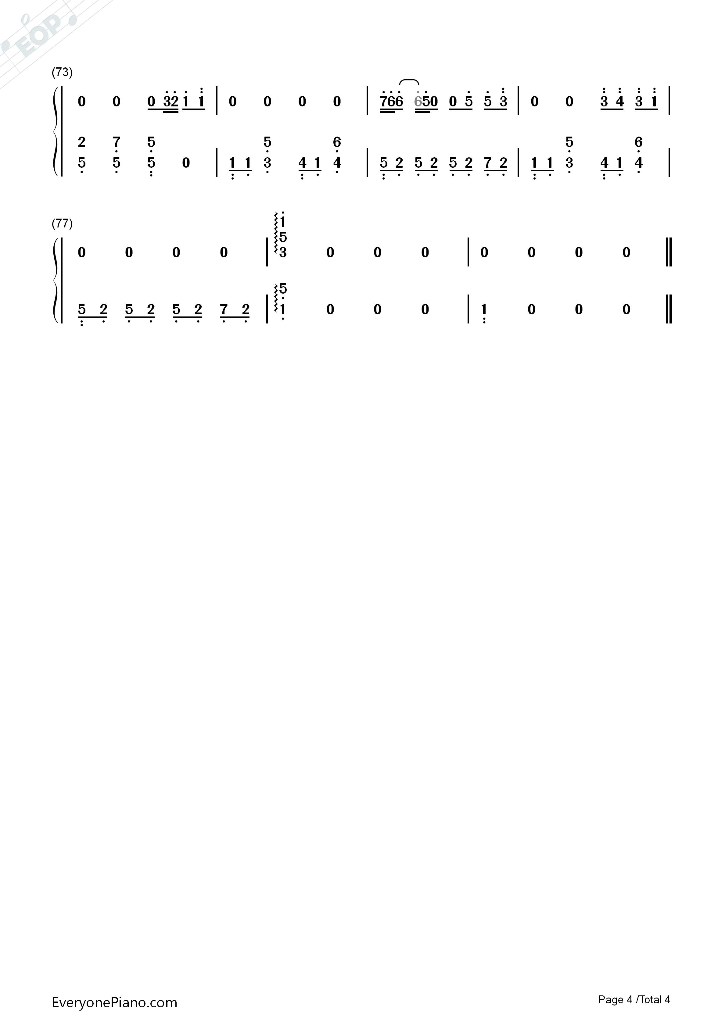 luvletter钢琴谱简易