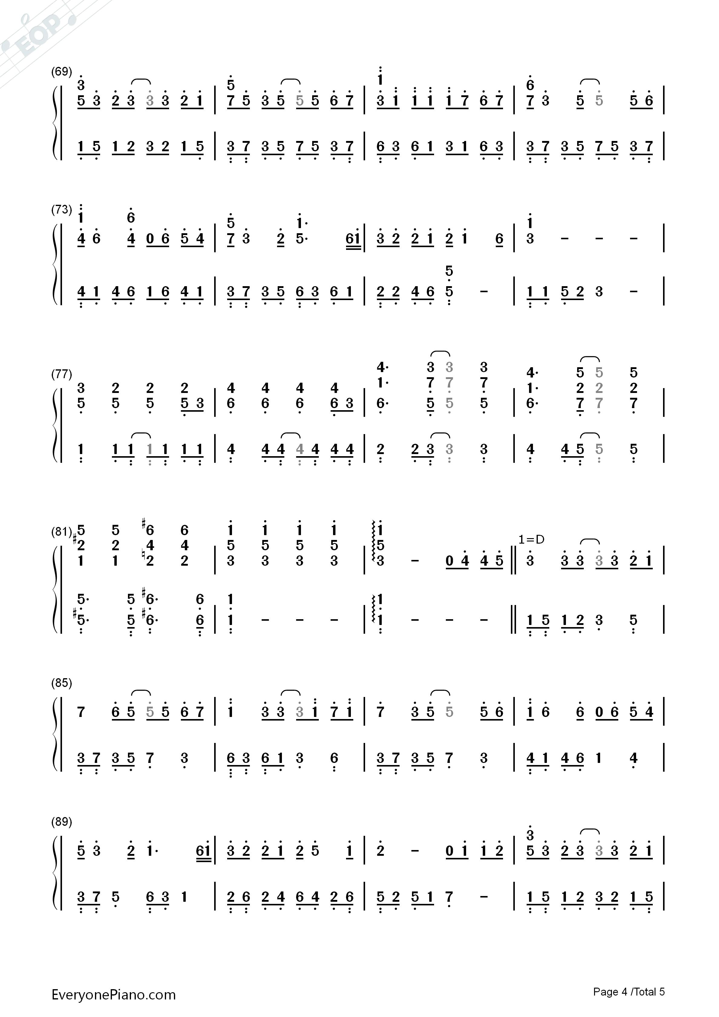 完整版简谱_纸短情长-完整版双手简谱预览4