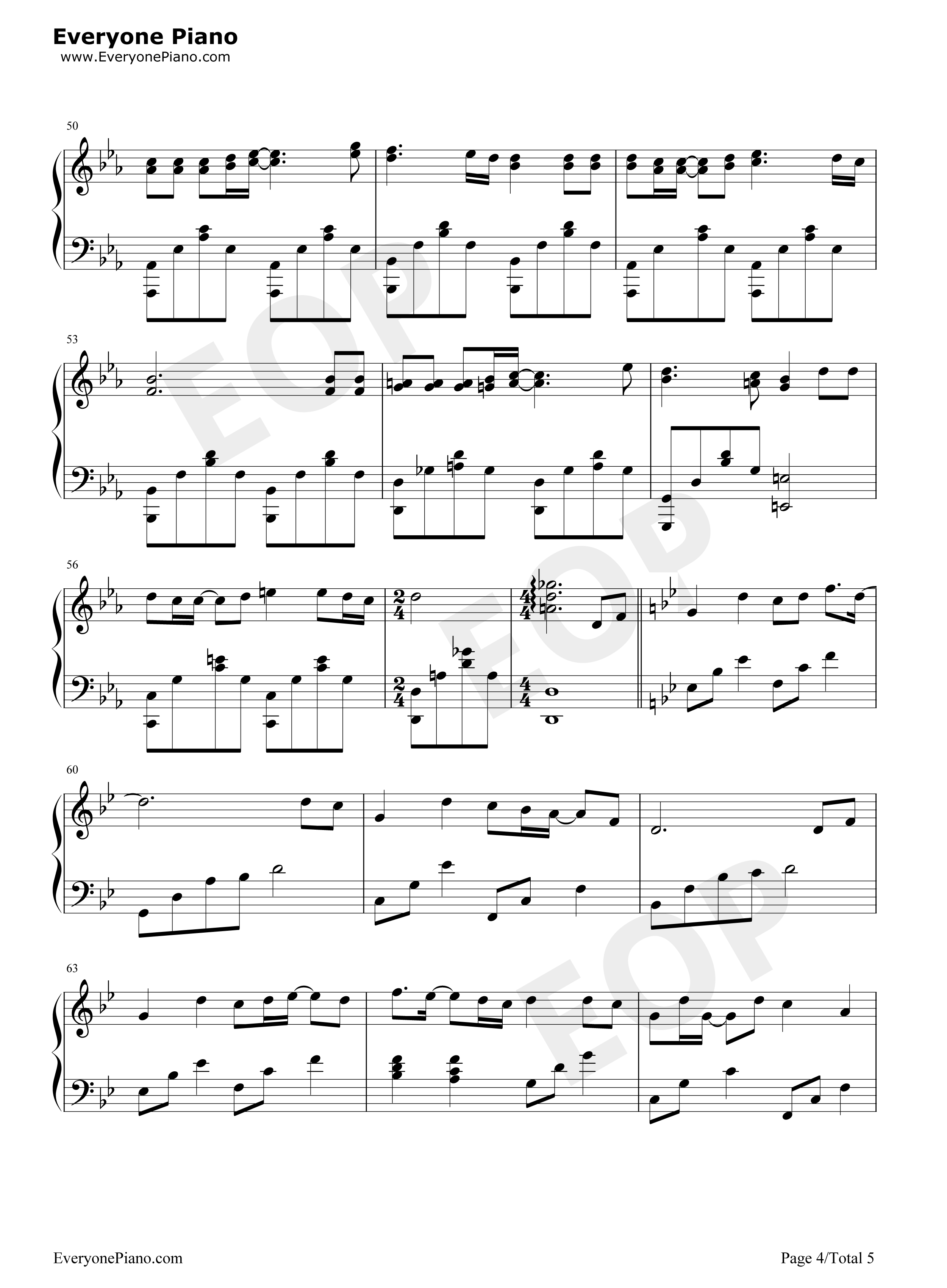 不染-完美版五线谱预览4-钢琴谱文件(五线谱,双手简谱图片