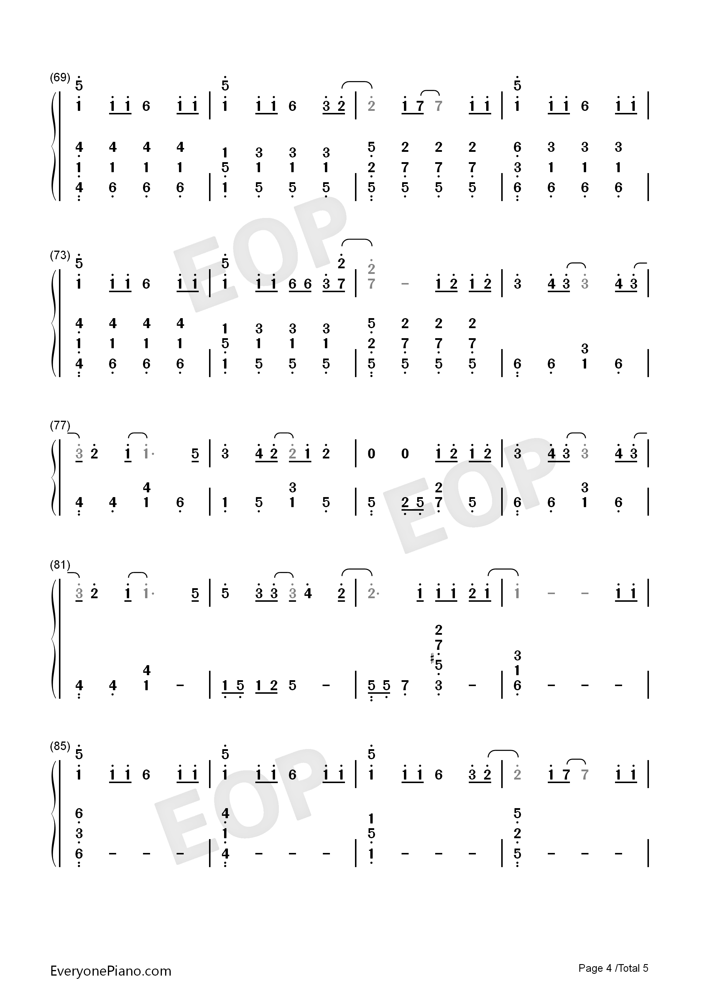 抖音歌曲钢琴数字简谱图片